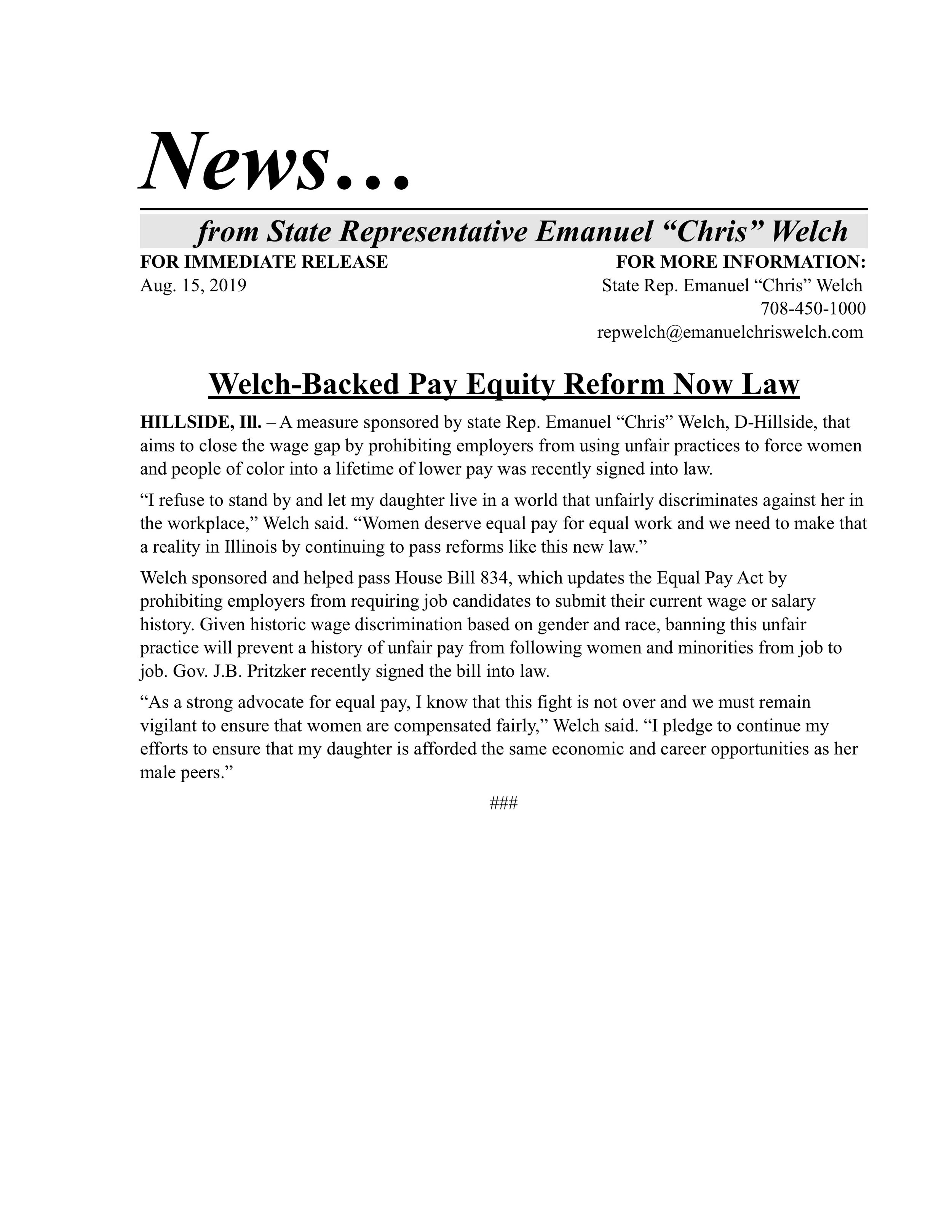 Welch-Backed Pay Equity Reform Now Law  (August 15, 2019)