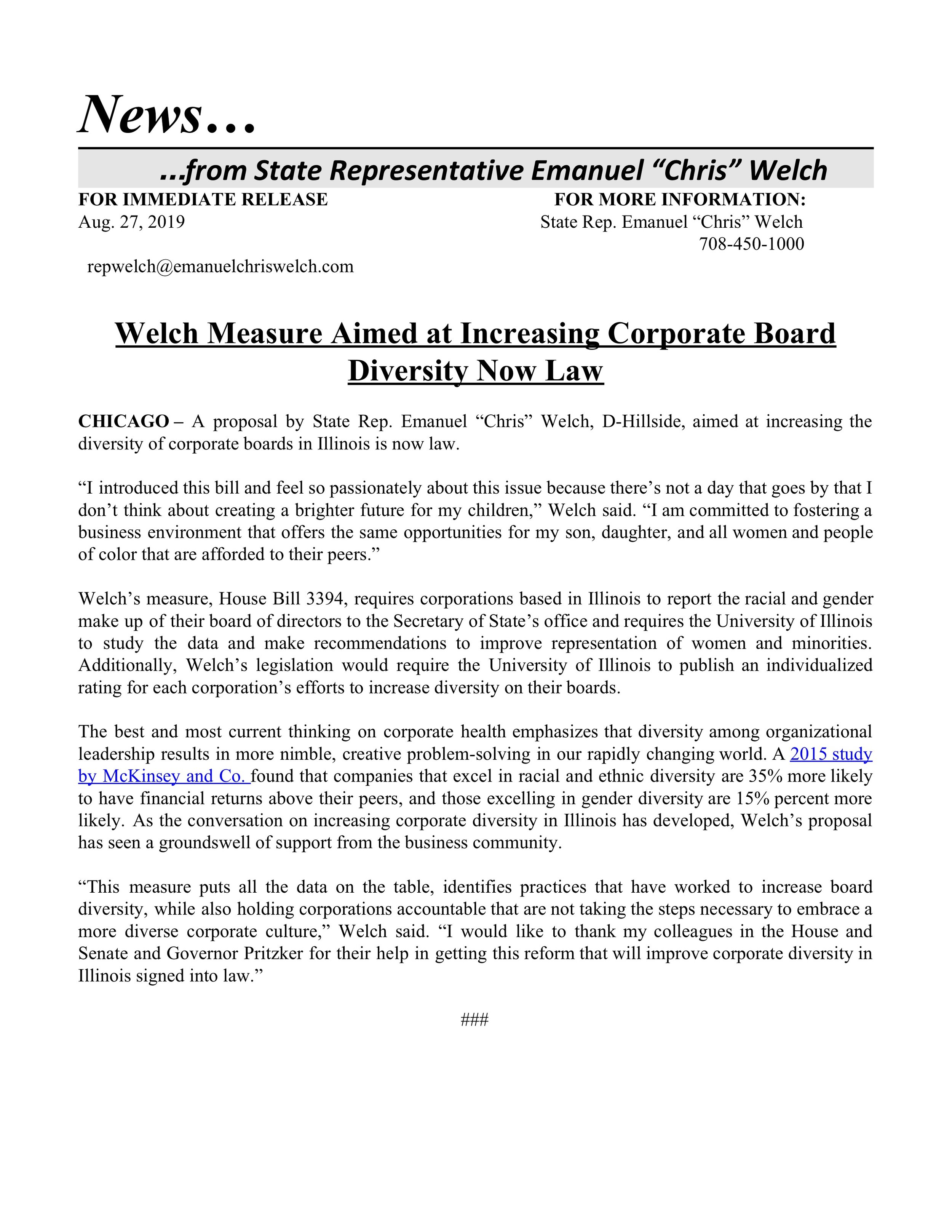 Welch Measure Aimed at Increasing Corporate Board Diversity Now Law  (August 27, 2019)