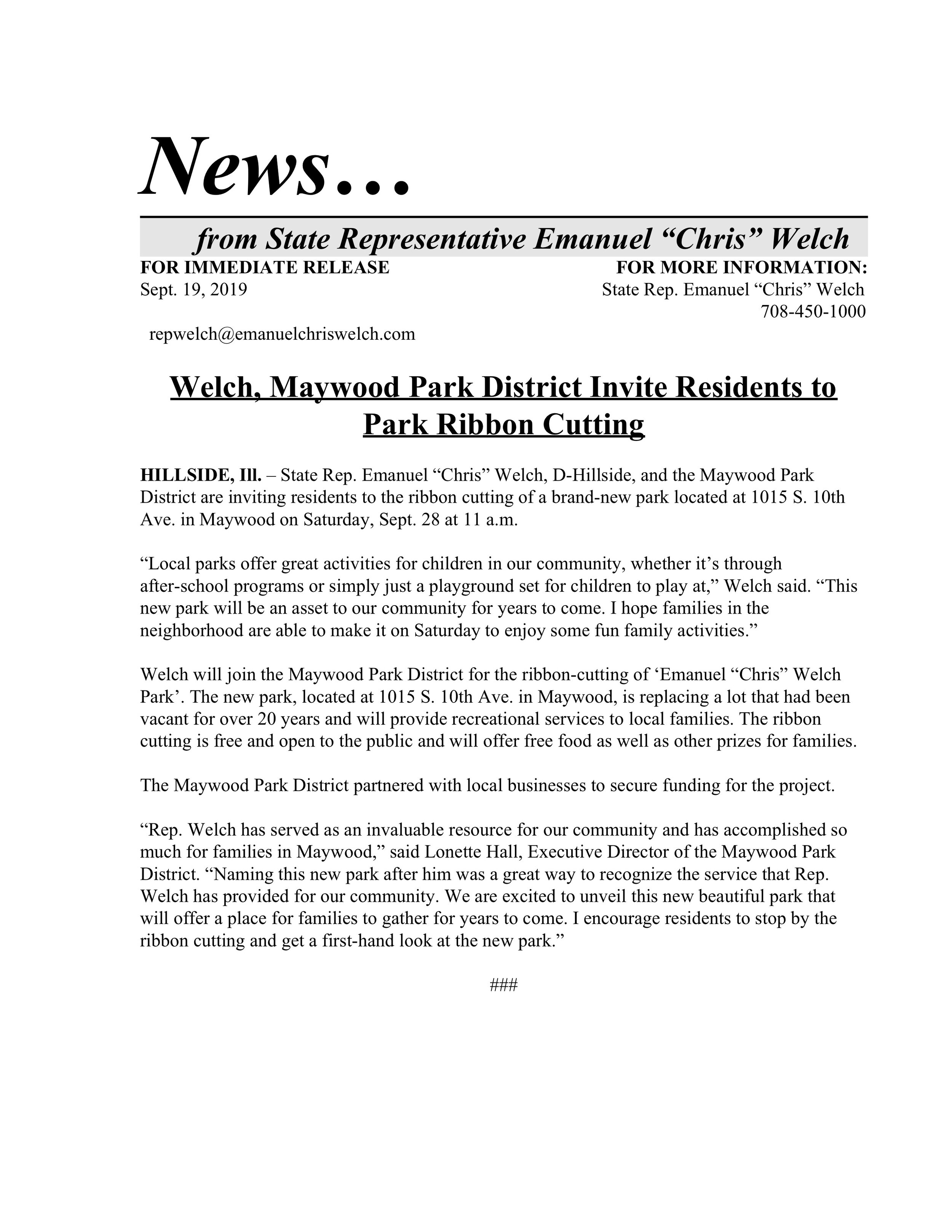 Welch, Maywood Park District Invite Residents to Park Ribbon Cutting  (September 19, 2019)