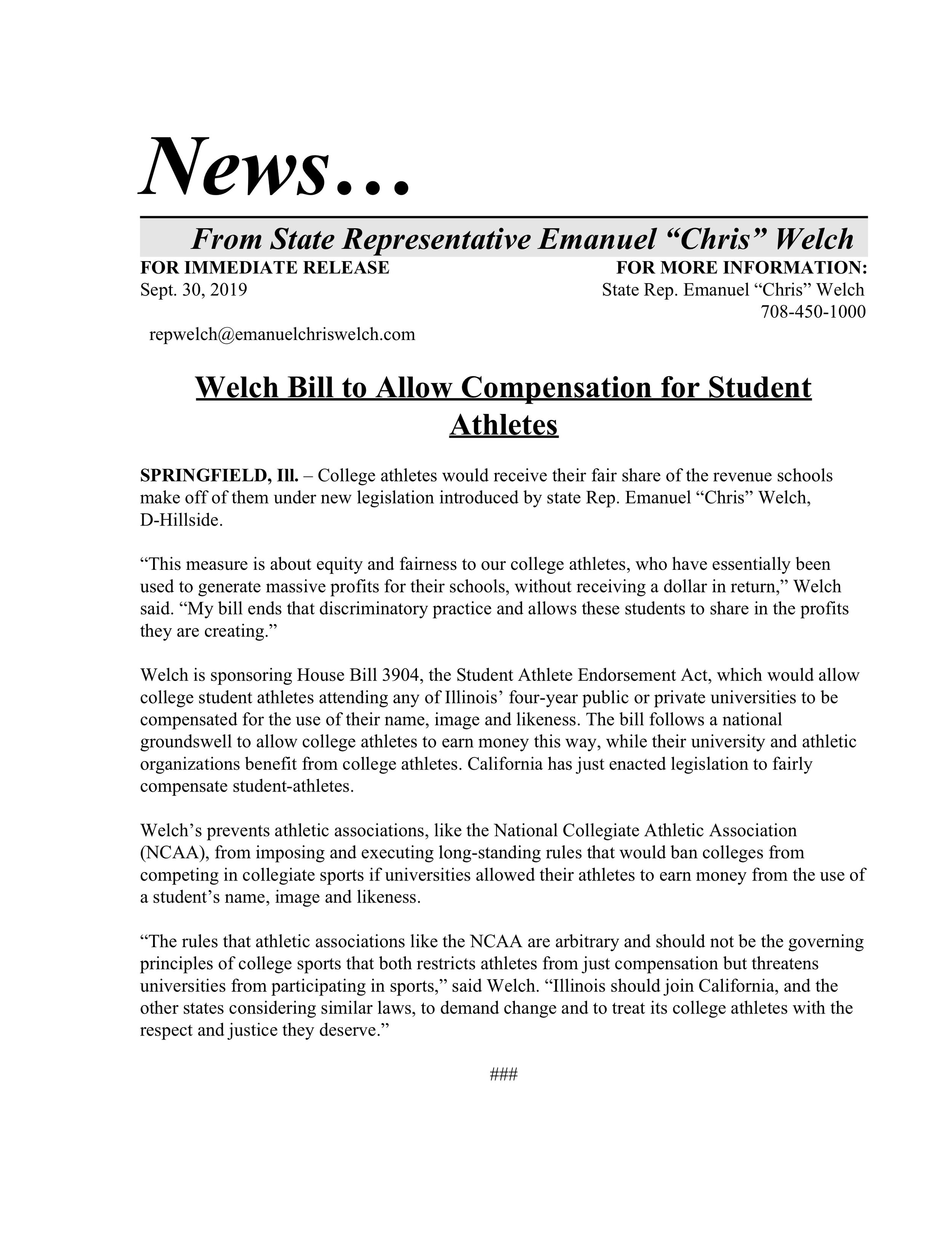 Welch Bill to Allow Compensation for Student Athletes  (September 30, 2019)