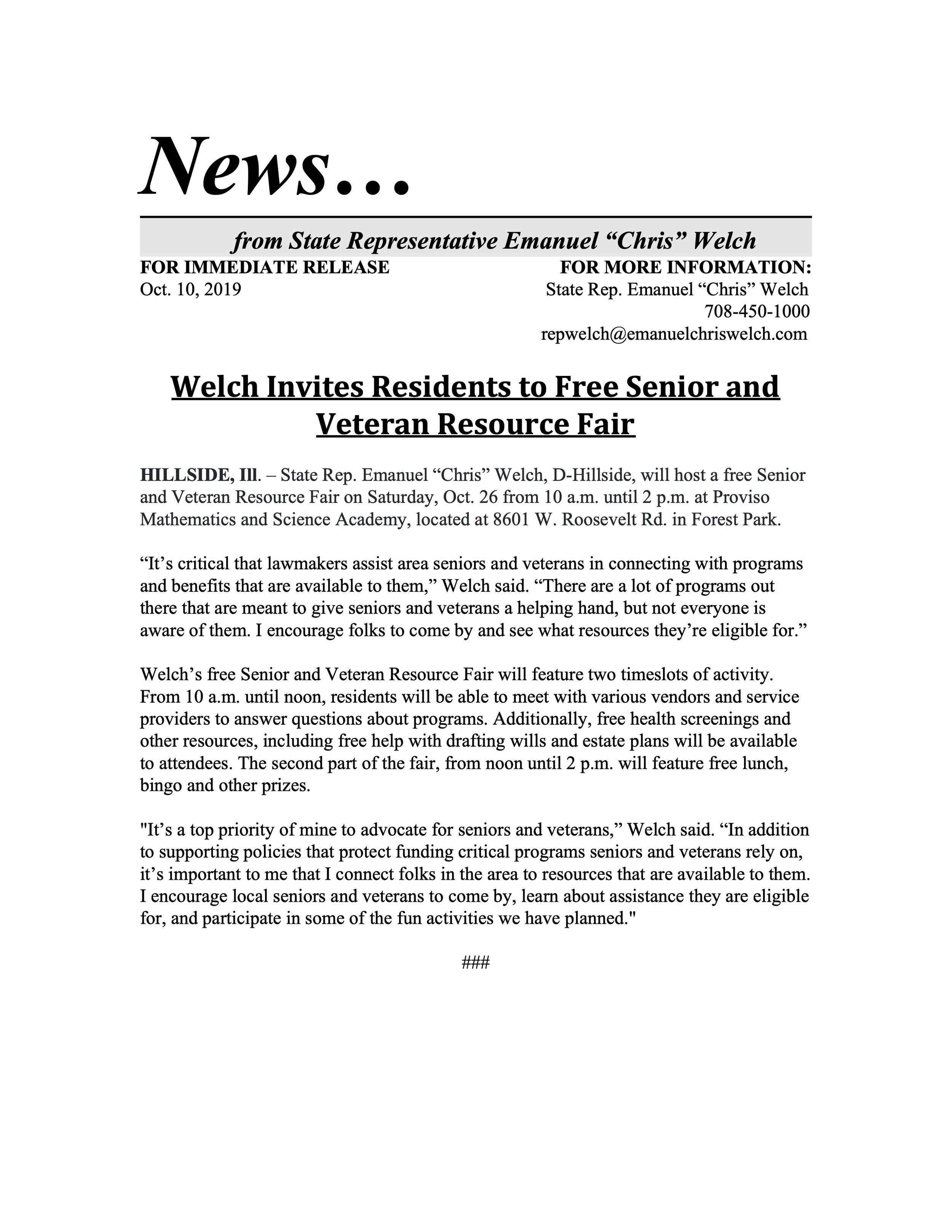 Welch Invites Residents to Free Senior and Veteran Resource Fair  (October 10, 2019)