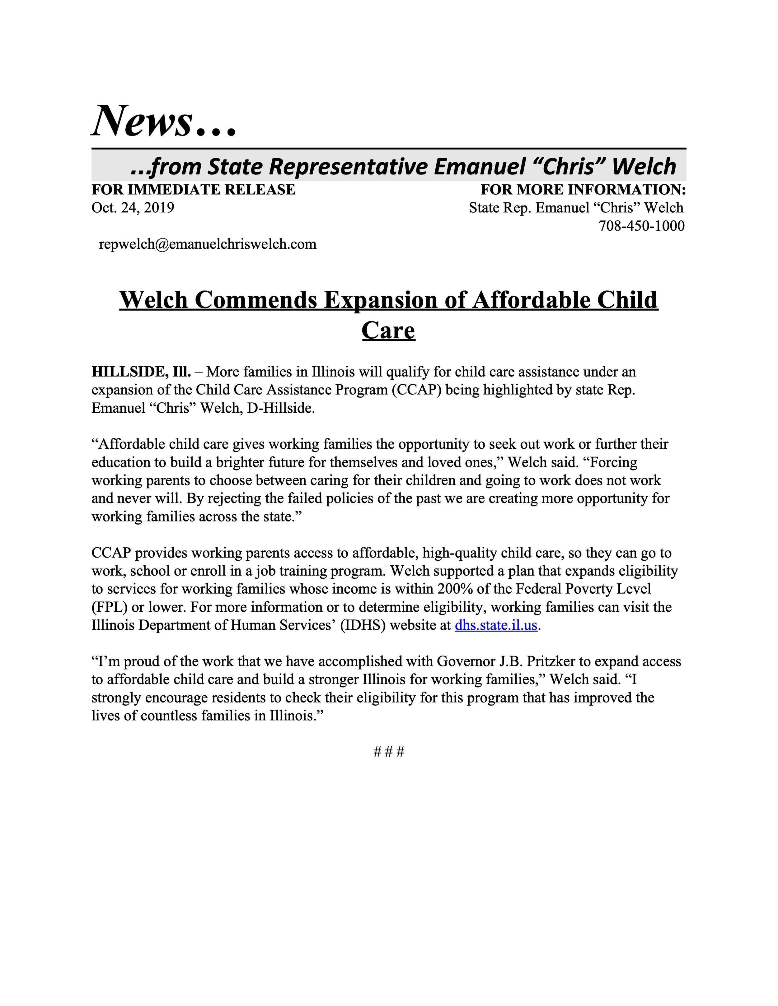 Welch Commends Expansion of Affordable Child Care  (October 24, 2019)