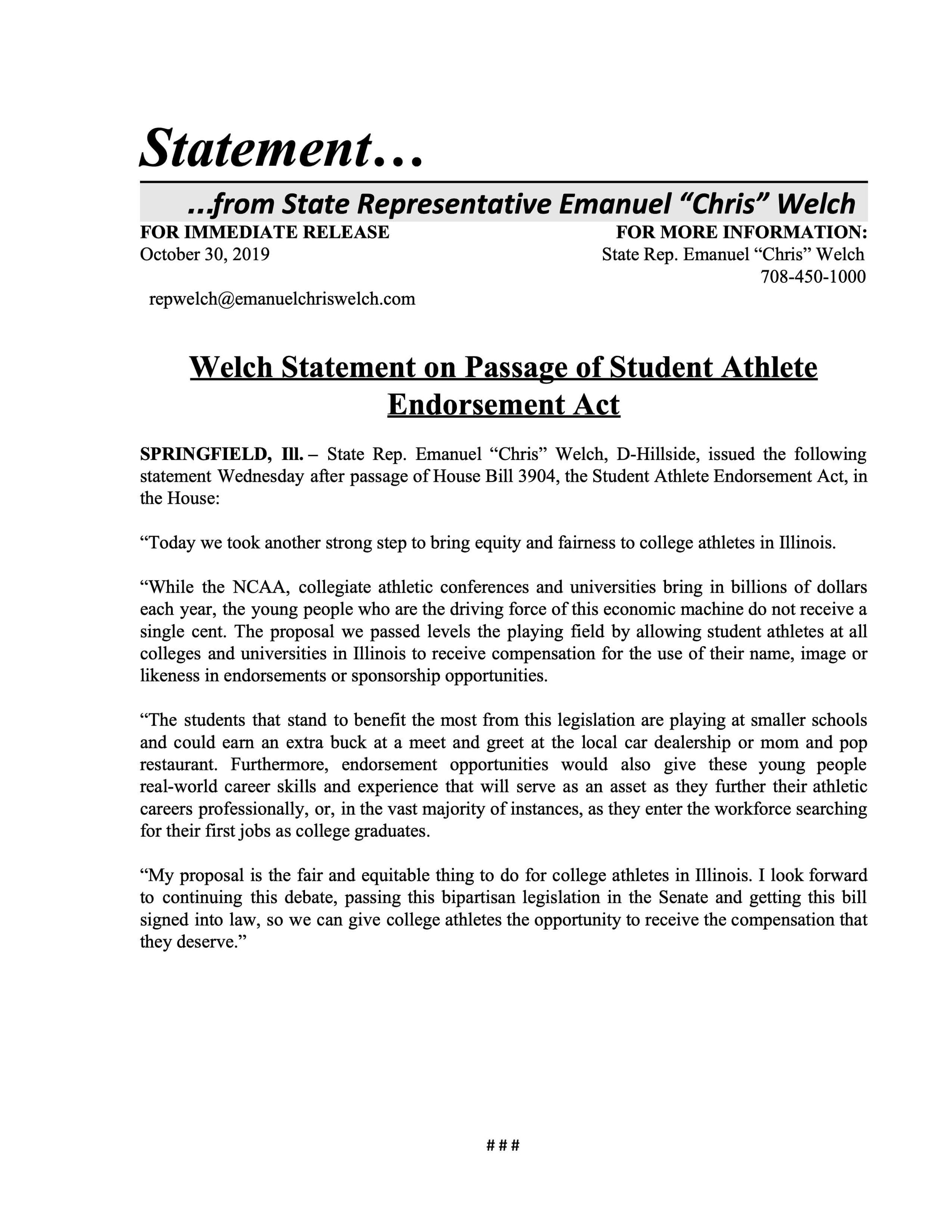 Welch Statement on Passage of Student Athlete Endorsement Act  (October 30, 2019)