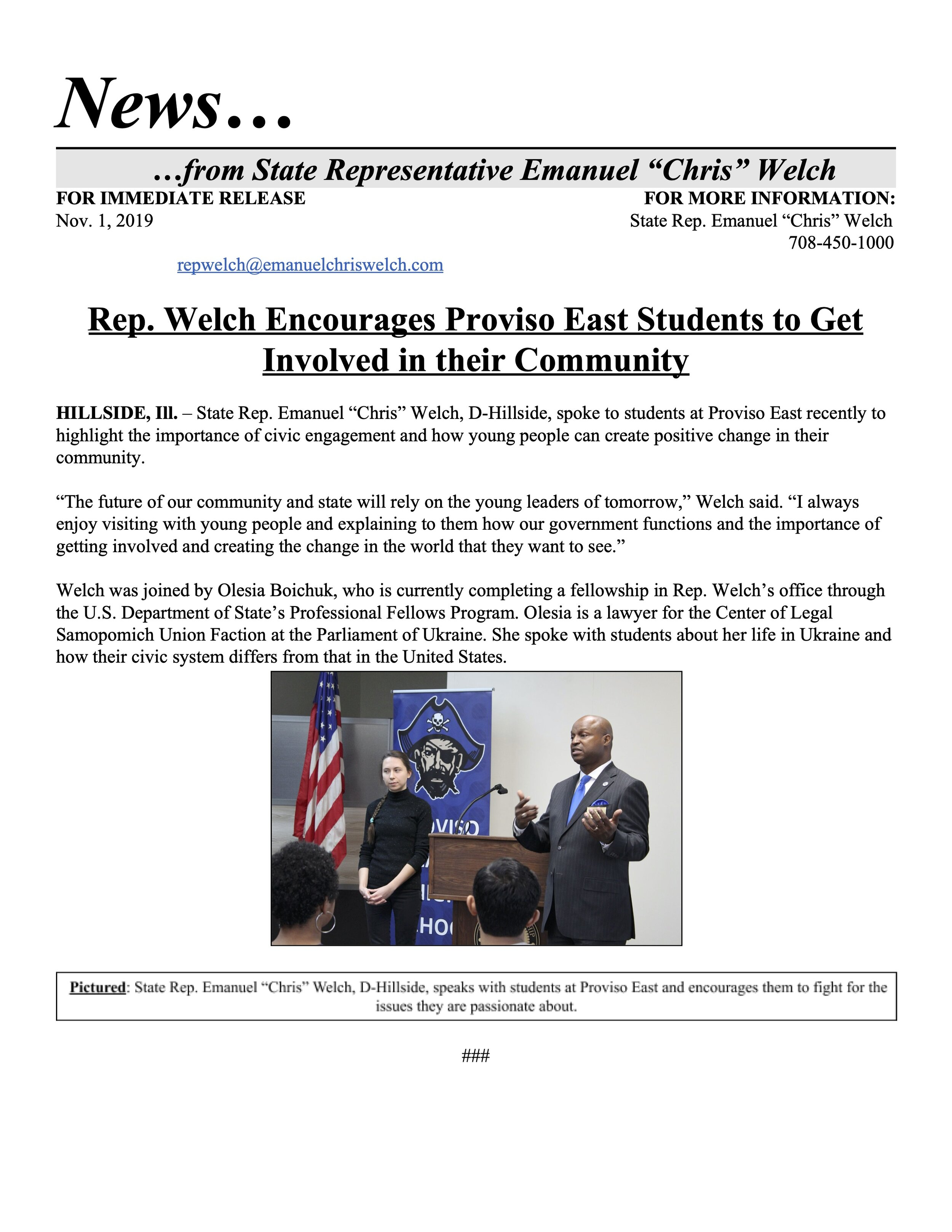 Rep. Welch Encourages Proviso East Students to Get Involved in their Community  (November 1, 2019)