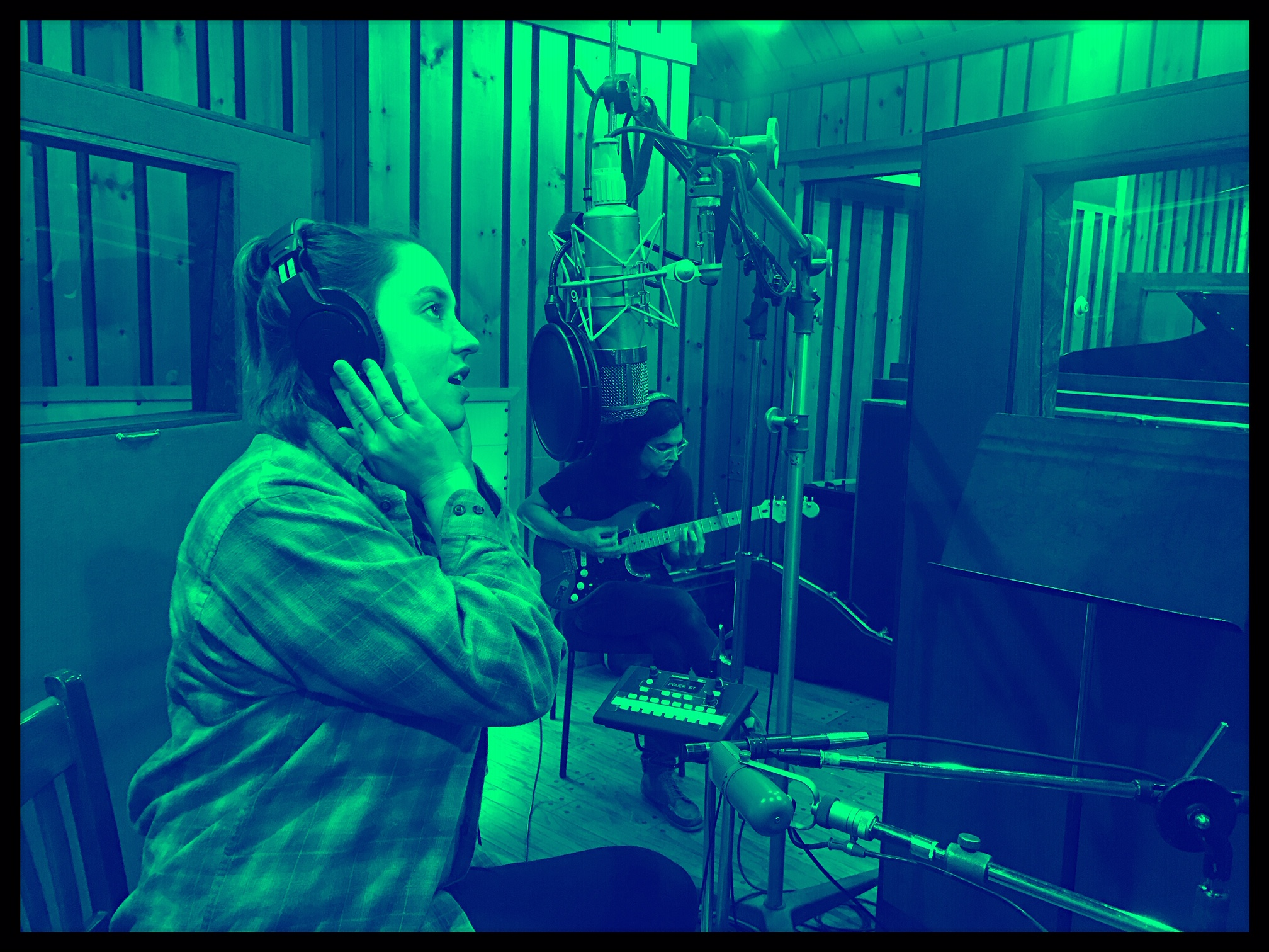 Jenna recording vocals, Kenny in the background