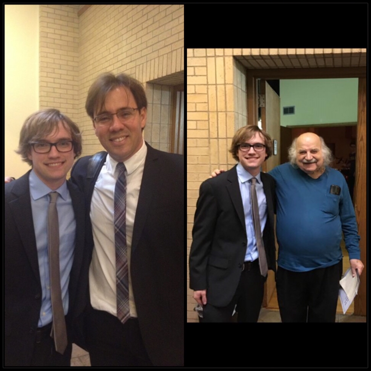 Left: Me pictured with Leandro Gazineo (conductor of my debut piece for orchestra)  Right: Me pictured with Dinos Constantinides (my undergraduate composition teacher)