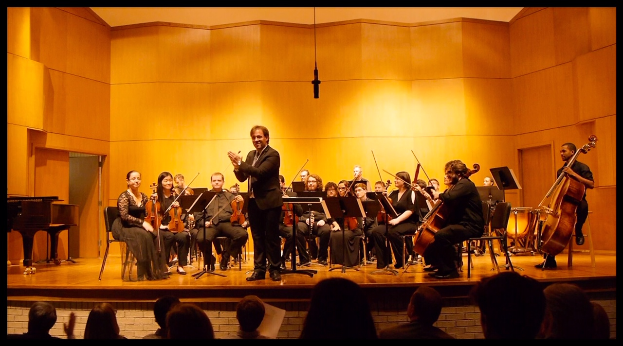 The orchestra led by conductor Leandro Gazineo