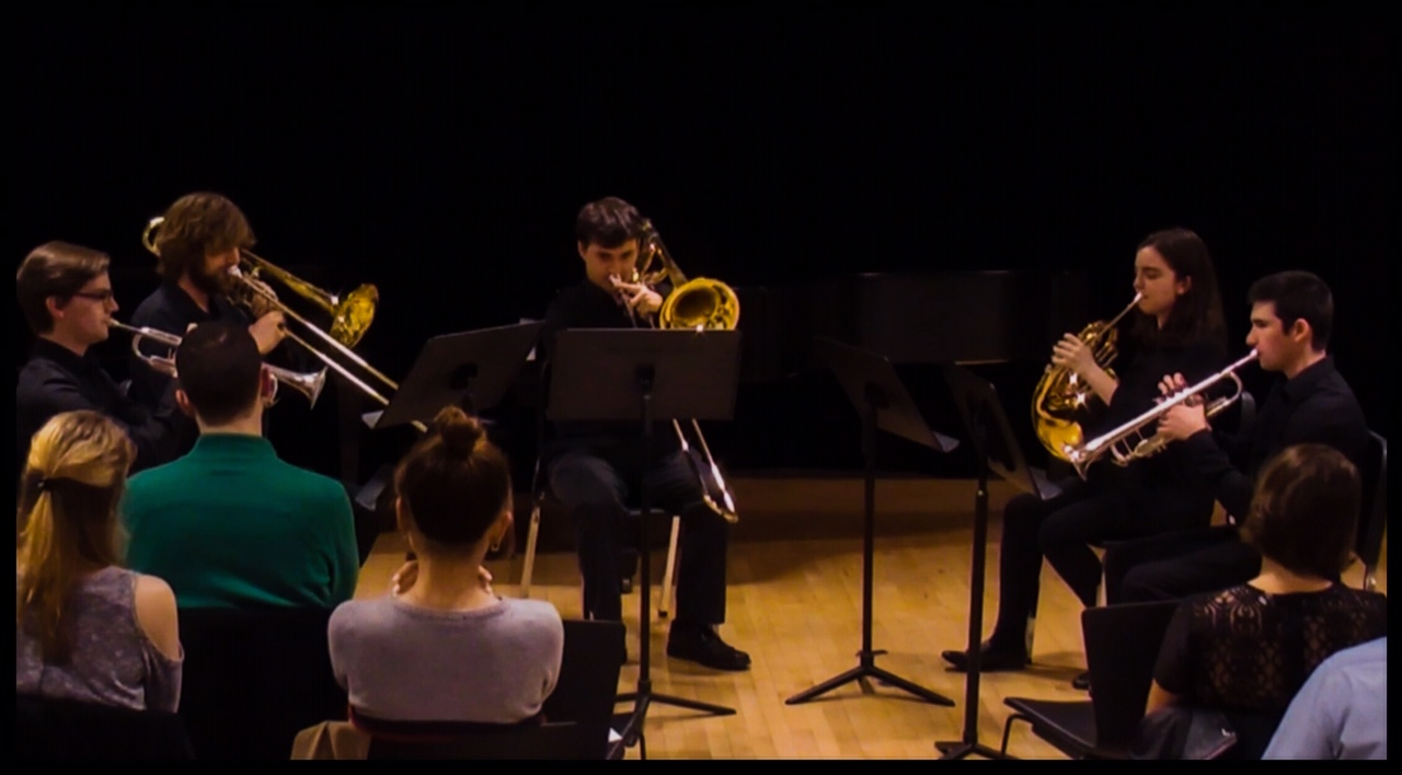 """Brass quintet performing my piece """"Gold Sounds"""""""