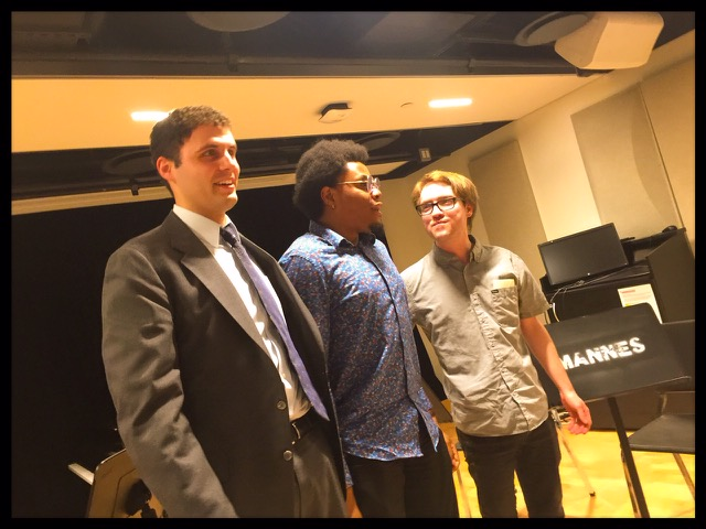 Three composers of the night. Pictured from L to R: Justin Rosin, Aferdian Stephens, myself