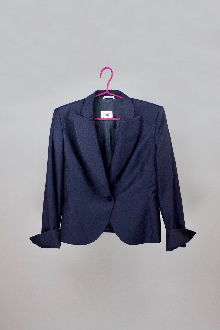 Deep blue jacket   Vintage wool jacket with a pattern-stripe detail. Architectural design by Gianfranco Ferré.