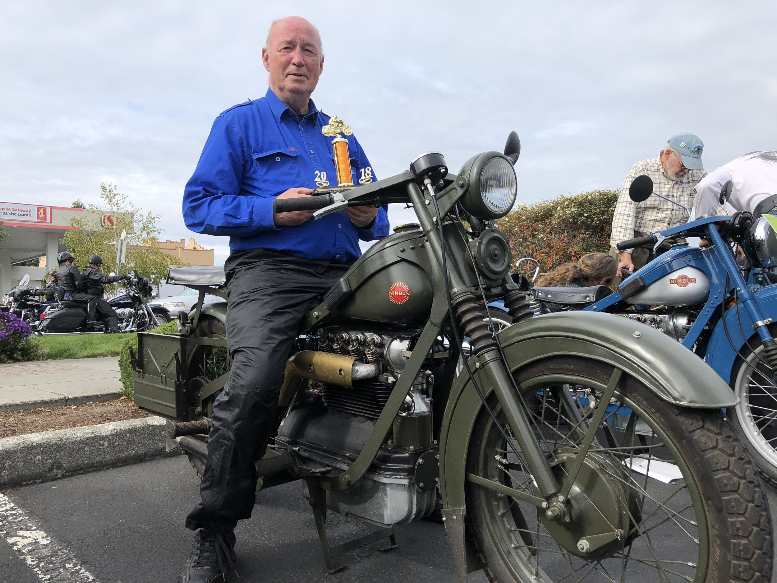 """Peter from Denmark & Nimbus, """"People's Choice"""" WVM Anacortes Vintage Motorcycle Show 2018"""