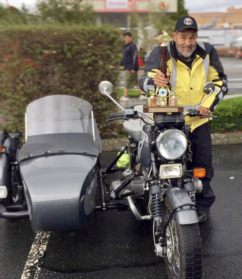 """Barry Newsom took home the coveted """"Peoples Choice"""" for his beautiful BMW with sidecar"""