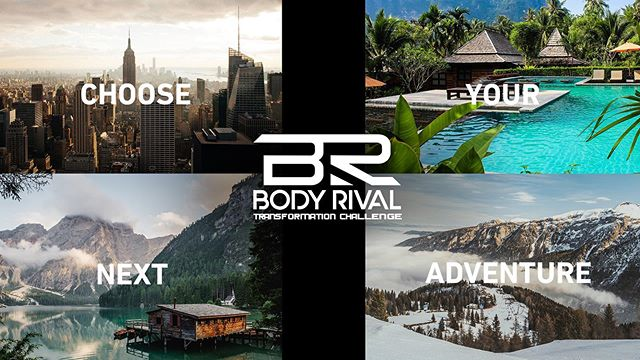 "Our last transformation challenge was so successful, we are hosting another! 🙌🏽 ⁣⁣ ⁣⁣ Body Rival is hosting a 6 Week Transformation Challenege starting on October 16th! 🍁 ⁣⁣ ⁣⁣ Winner of the challenge gets to ""pick their own adventure"" ✈️ 🏔 🌊 between multiple destinations! ⁣⁣ ⁣⁣ ""Oh, the places you'll go"" - Dr. Seuss 🤔 😎 ⁣ ⁣ Sign up for the challenge through the link in our bio! 🏃🏽‍♀️ 💪🏾 🏋🏼‍♂️ ⁣⁣"