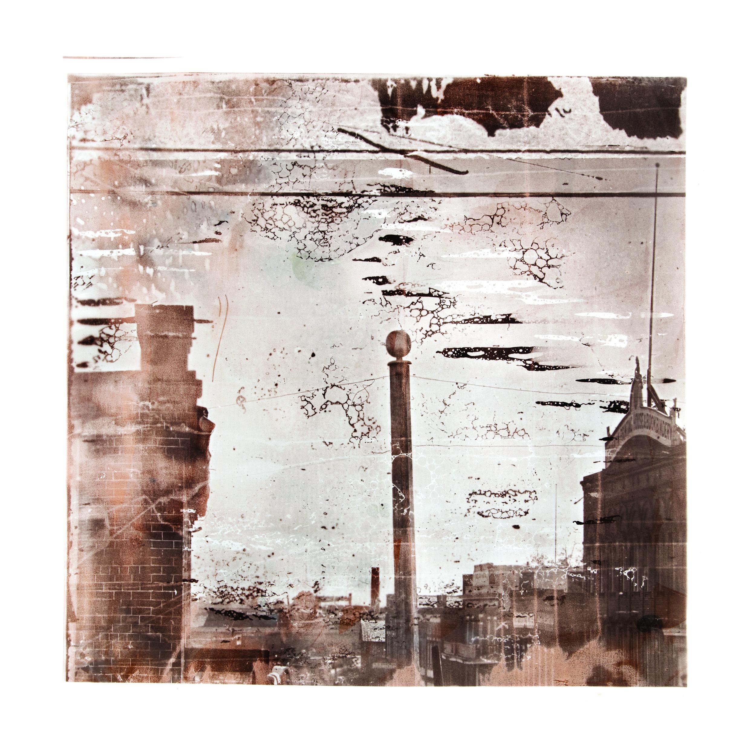 1864, 03355a4  2017  peaches, eggs, salt, sugar, flour, cinnamon, butter,  and silver nitrate on paper (albumen print)  45 x 45 inches