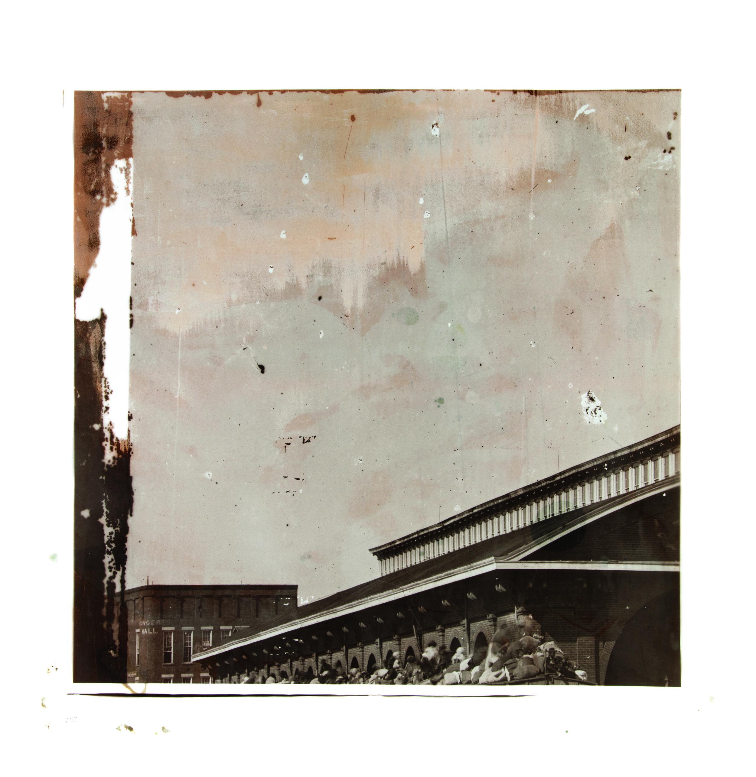 1864, 03472a1  2017  peaches, eggs, salt, sugar, flour, cinnamon, butter,  and silver nitrate on paper (albumen print)  45 x 45 inches