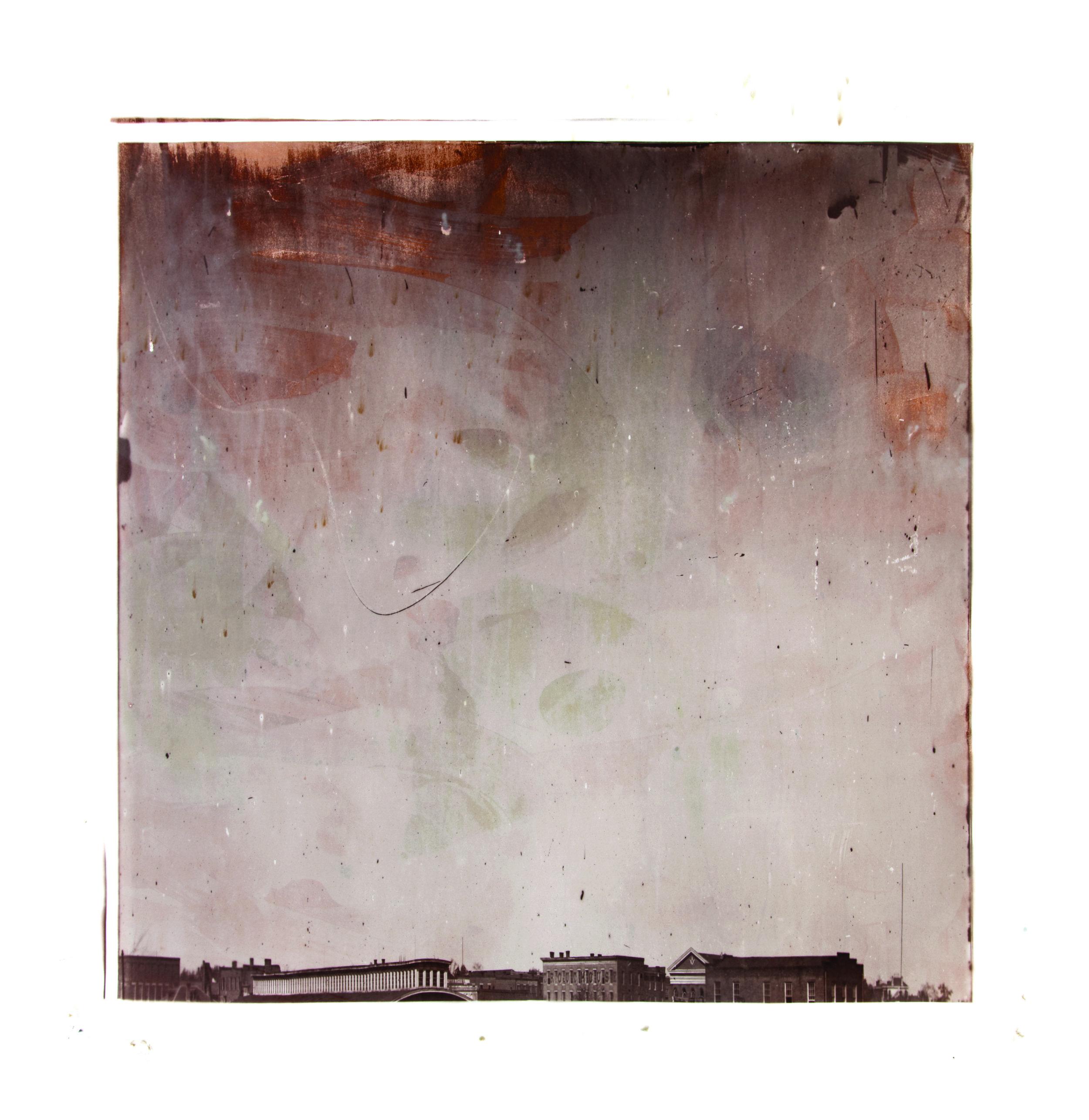 1864, 03475a1  2017  peaches, eggs, salt, sugar, flour, cinnamon, butter,  and silver nitrate on paper (albumen print)  45 x 45 inches