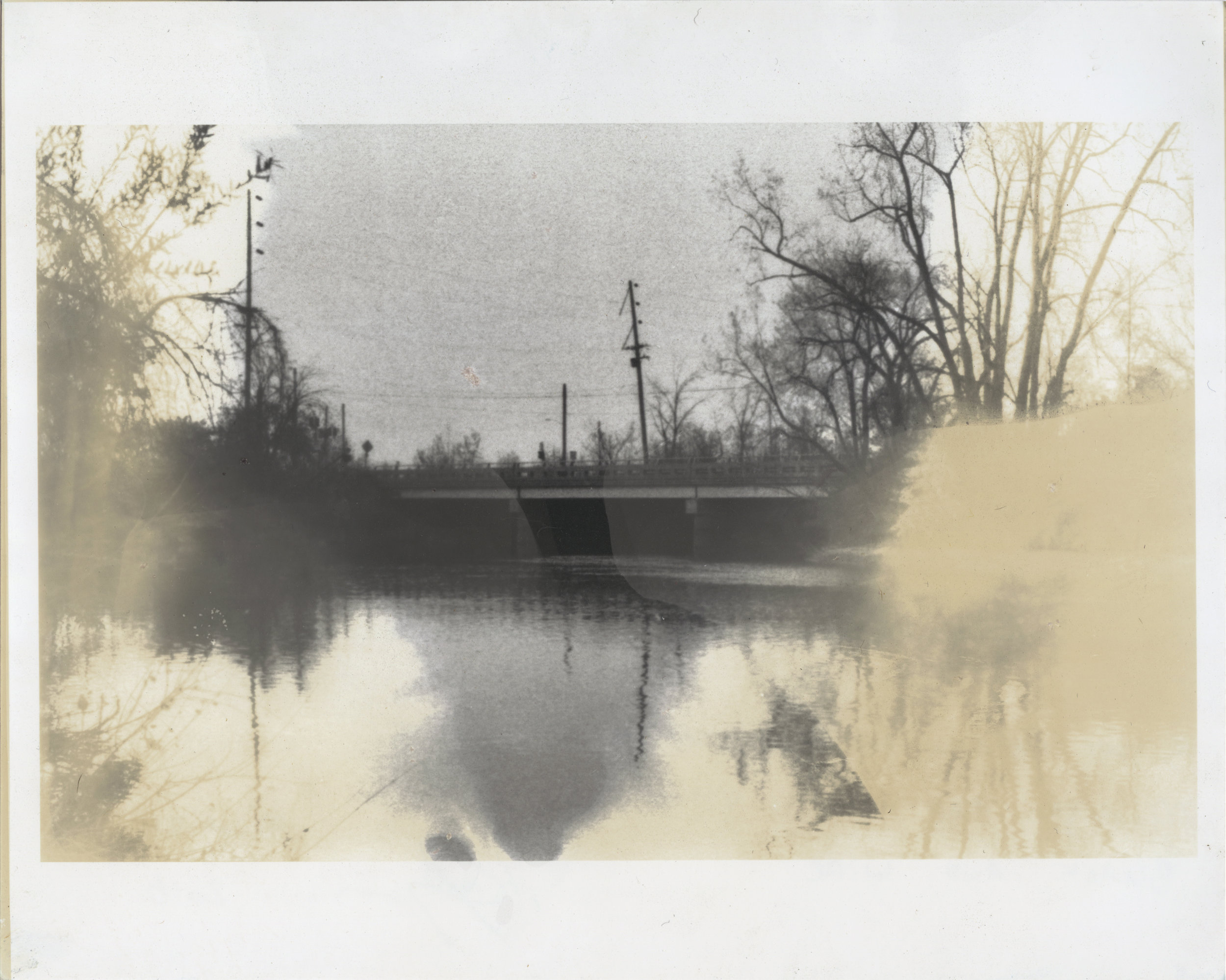 Bridge Over Flint 10  2016  silver gelatin print developed with Flint, Michigan tap water,  vitamin C, bleach, and wine  8 x 10 inches