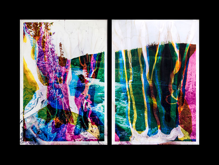 Untitled Cascade C2M2Y2RC1M2Y1  2014  diptych, multi layered duraclear prints processed  with Yellowstone River water, in led lightbox frame  65 1/4 x 46 ¼ x 2 inches each panel, 65 1/4 x 93 x 2 inches