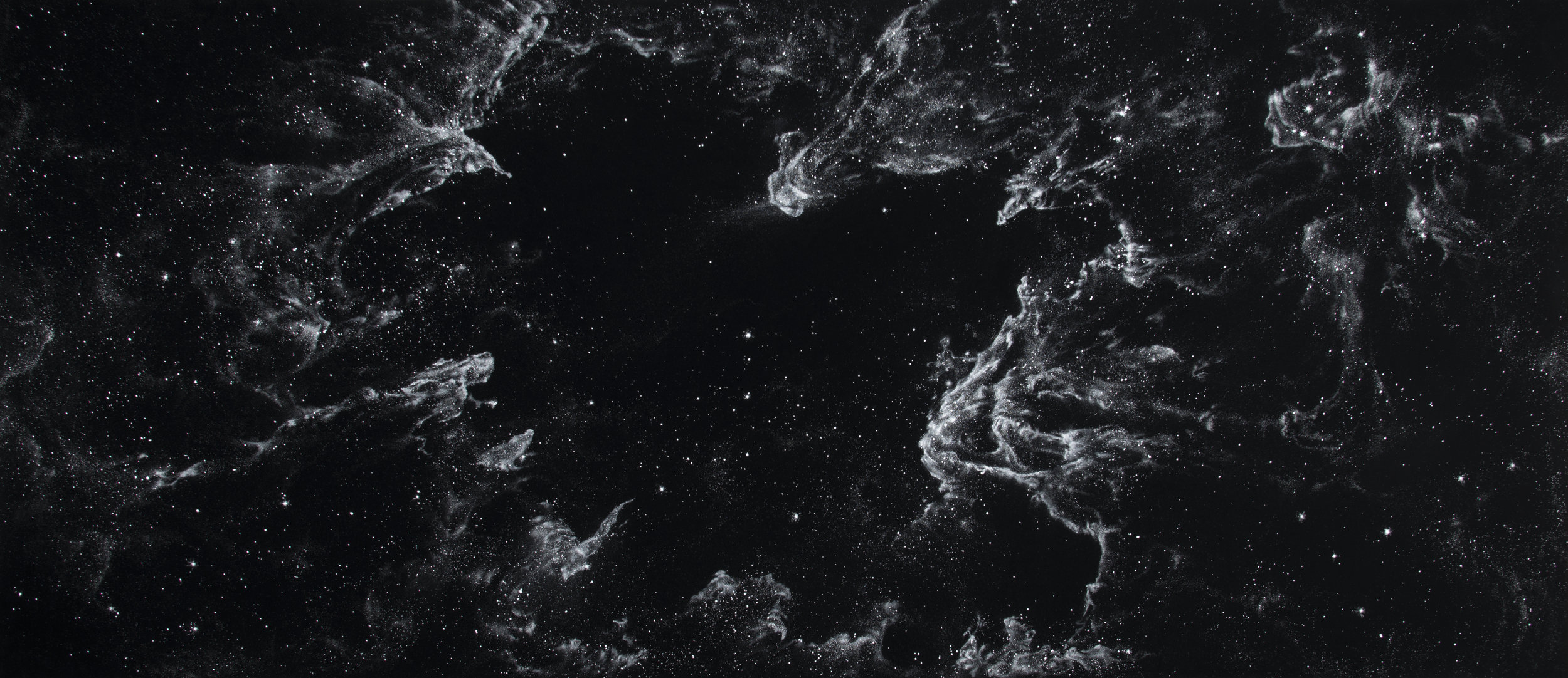 NGC 3372  2013  cocaine dust on photographer's velvet  52 x 120 ½ inches