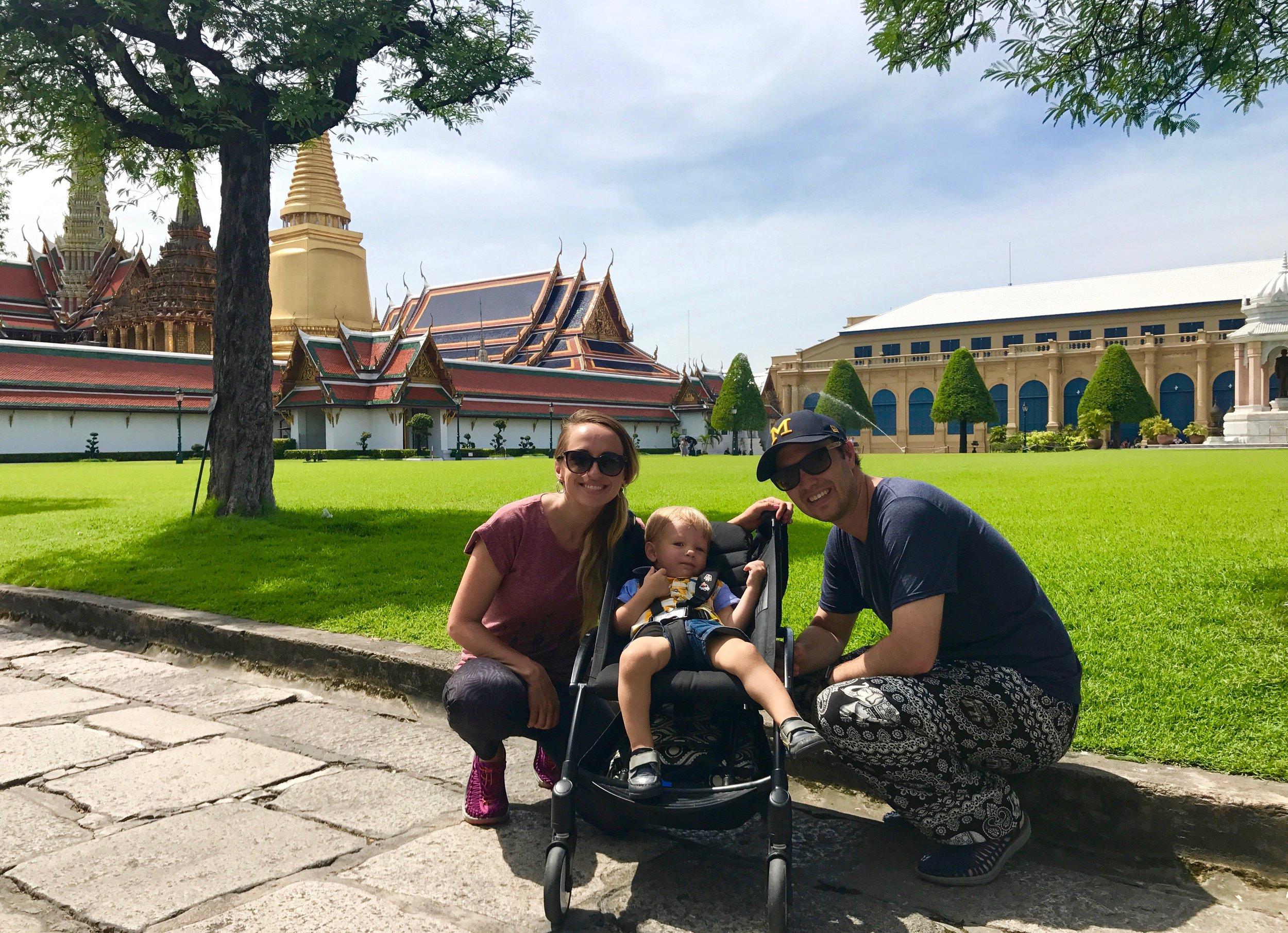 Visiting the Grand Palace in Bangkok, Thailand.