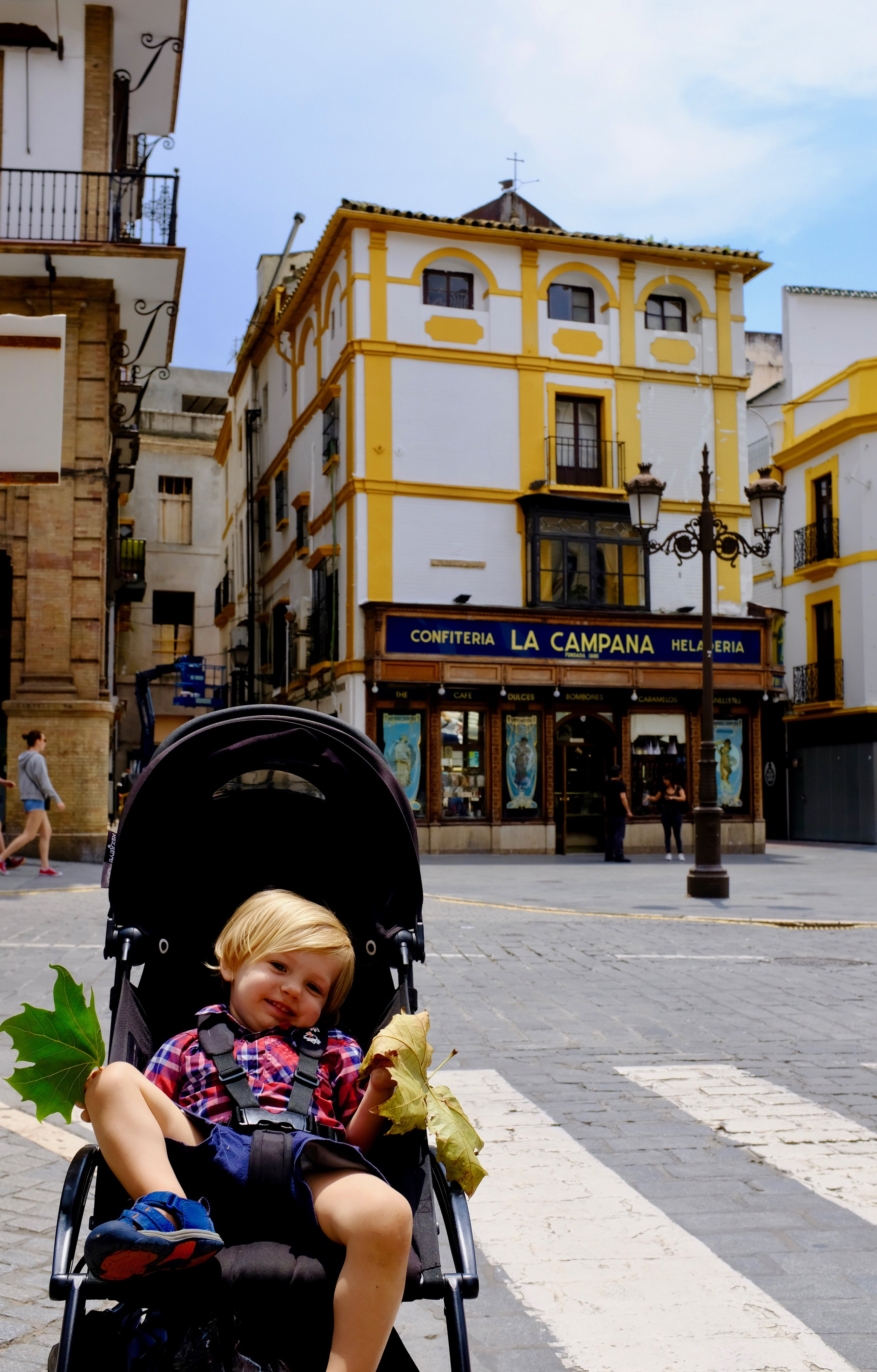Outside of our favorite Spanish bakery, La Campana, in Seville, Spain.