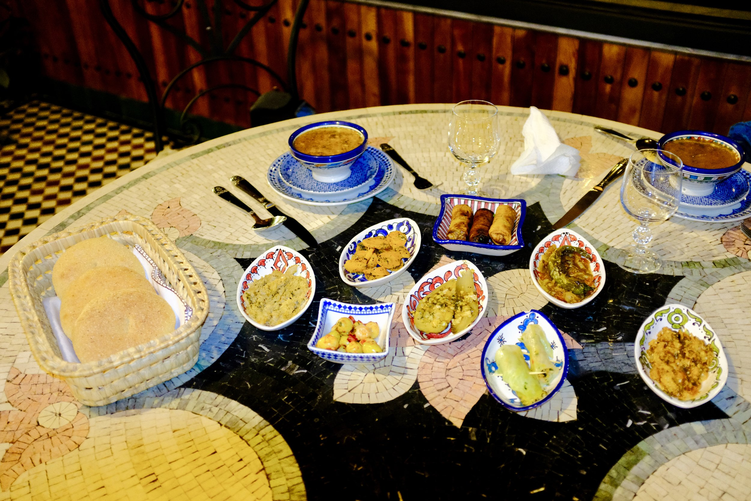 Our appetizer course that first night while eating dinner at Riad Fes Maya.