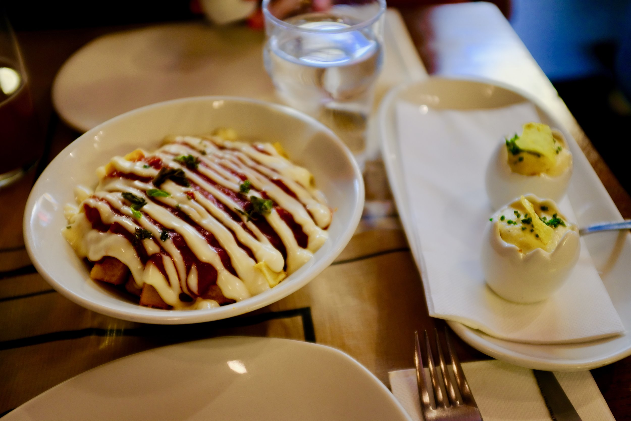 Tapas from Sal Gorda in Seville, Spain – Patatas Bravas and a creative and modern take on Tortillas de Patatas.