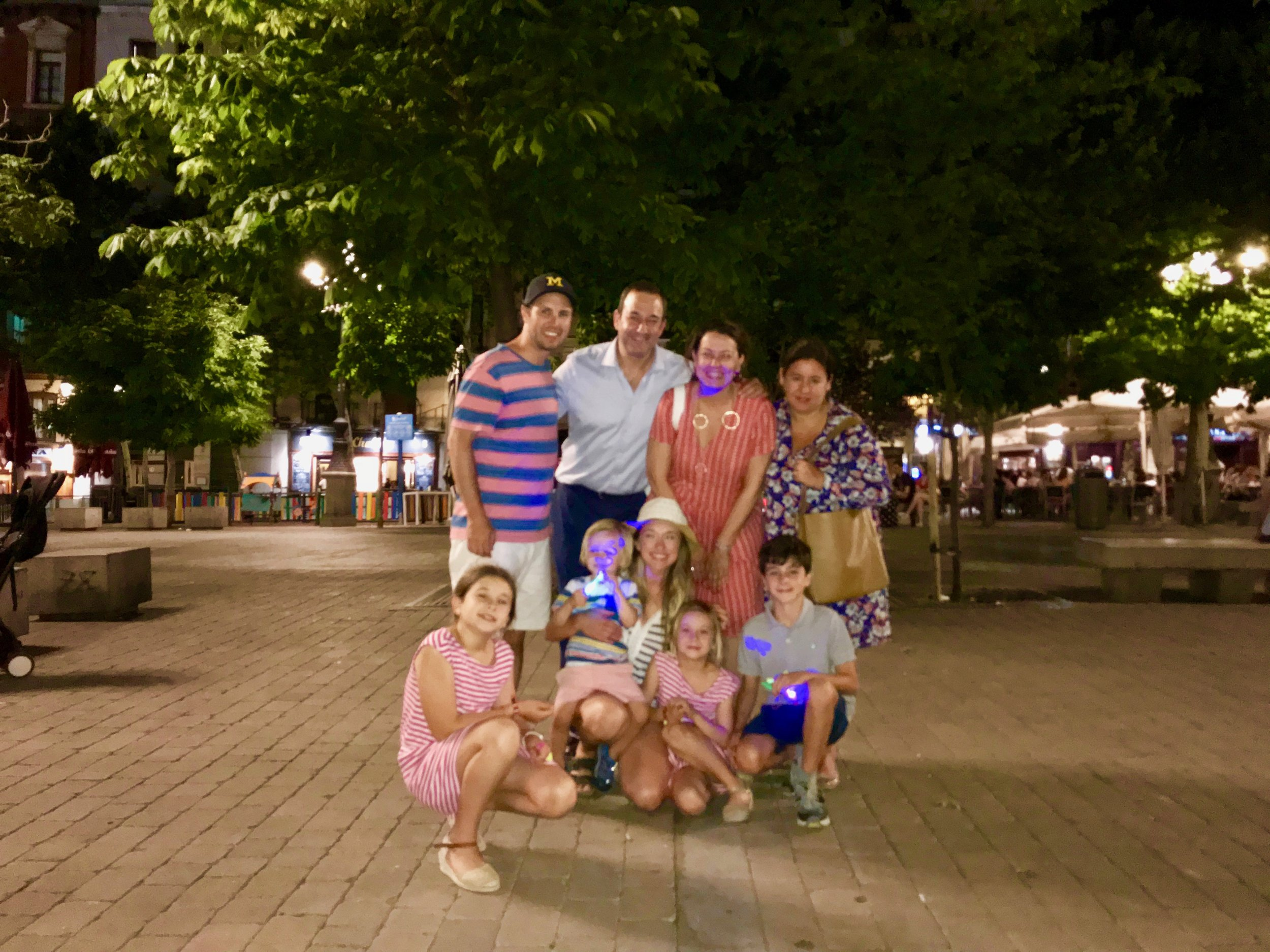 The perfect example of an amazing and tight-knit family. Hanging out at Plaza de Santa Ana in Madrid, Spain.