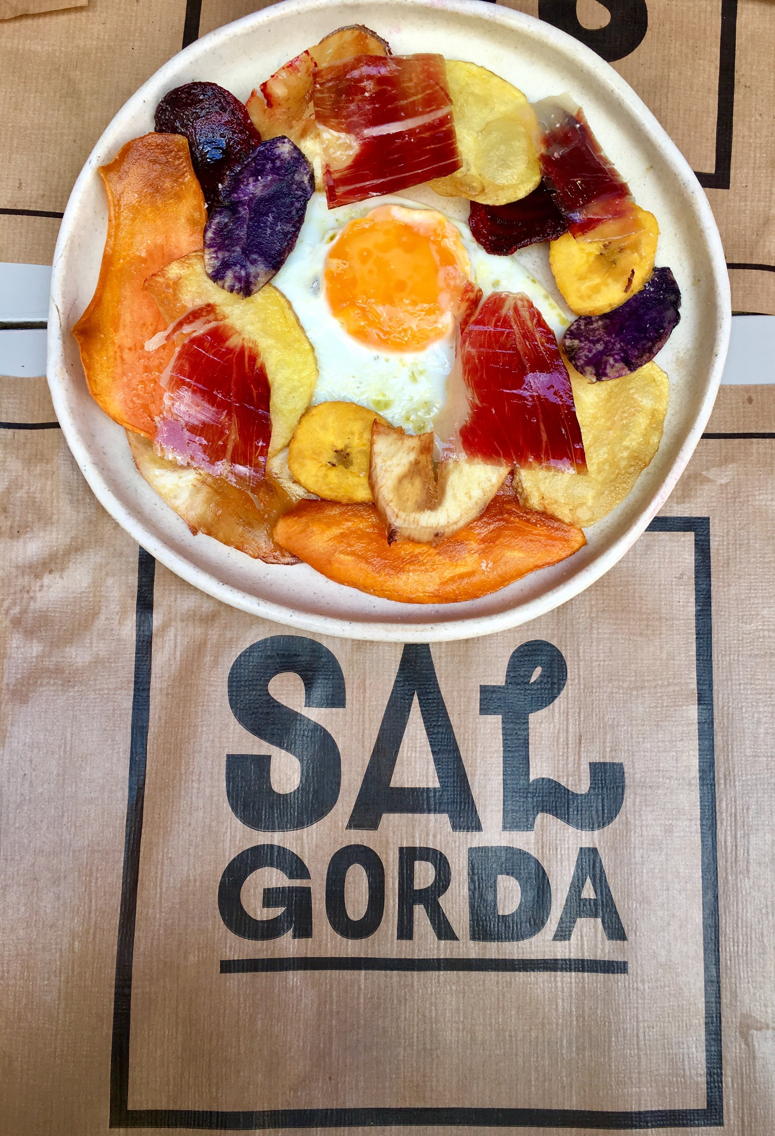 A daily special item at Sal Gorda using the famous Seville jamón.
