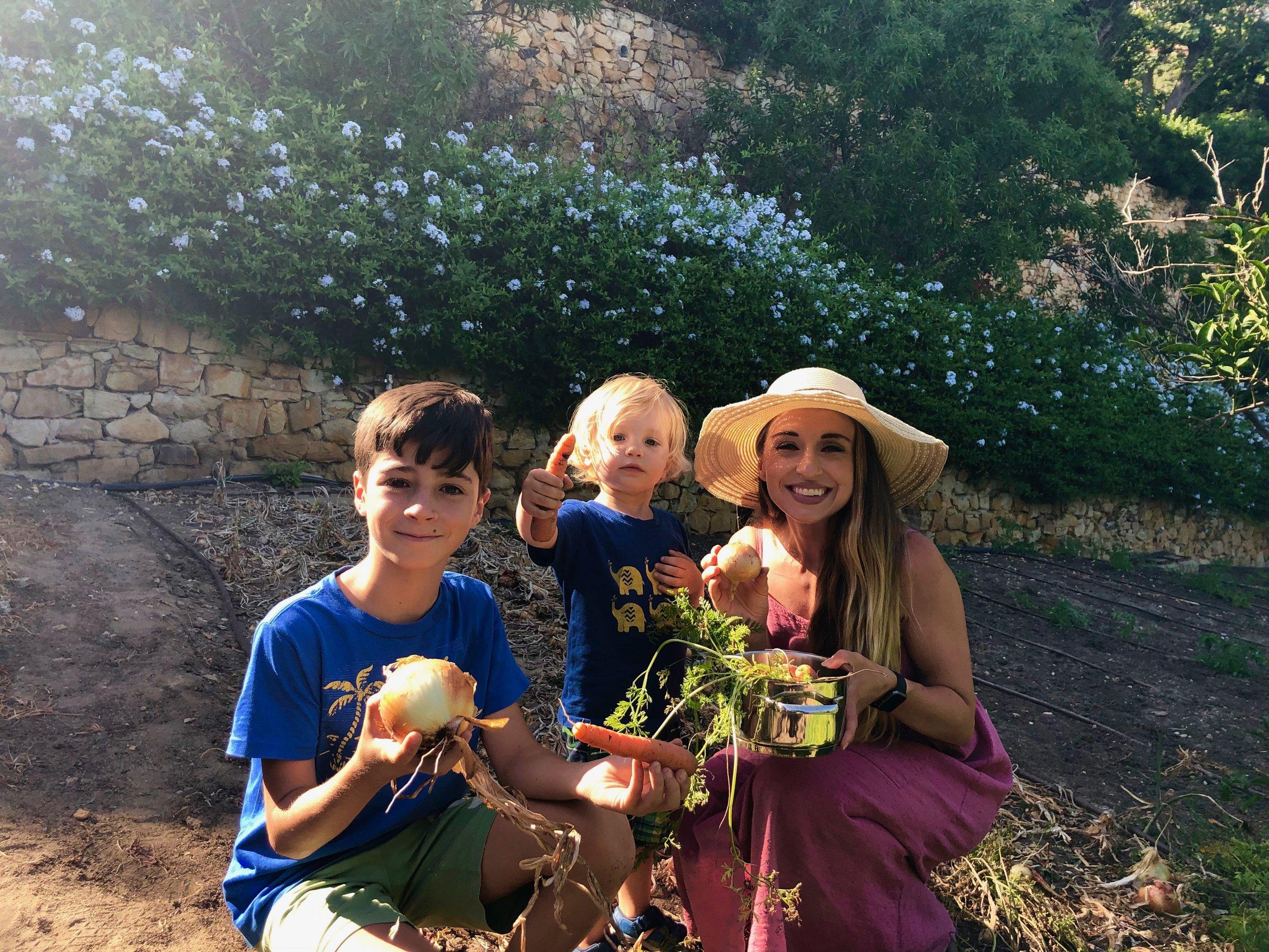 Nico, Jimmy, and Mikelle, in the garden area at La Finca Guatavita.