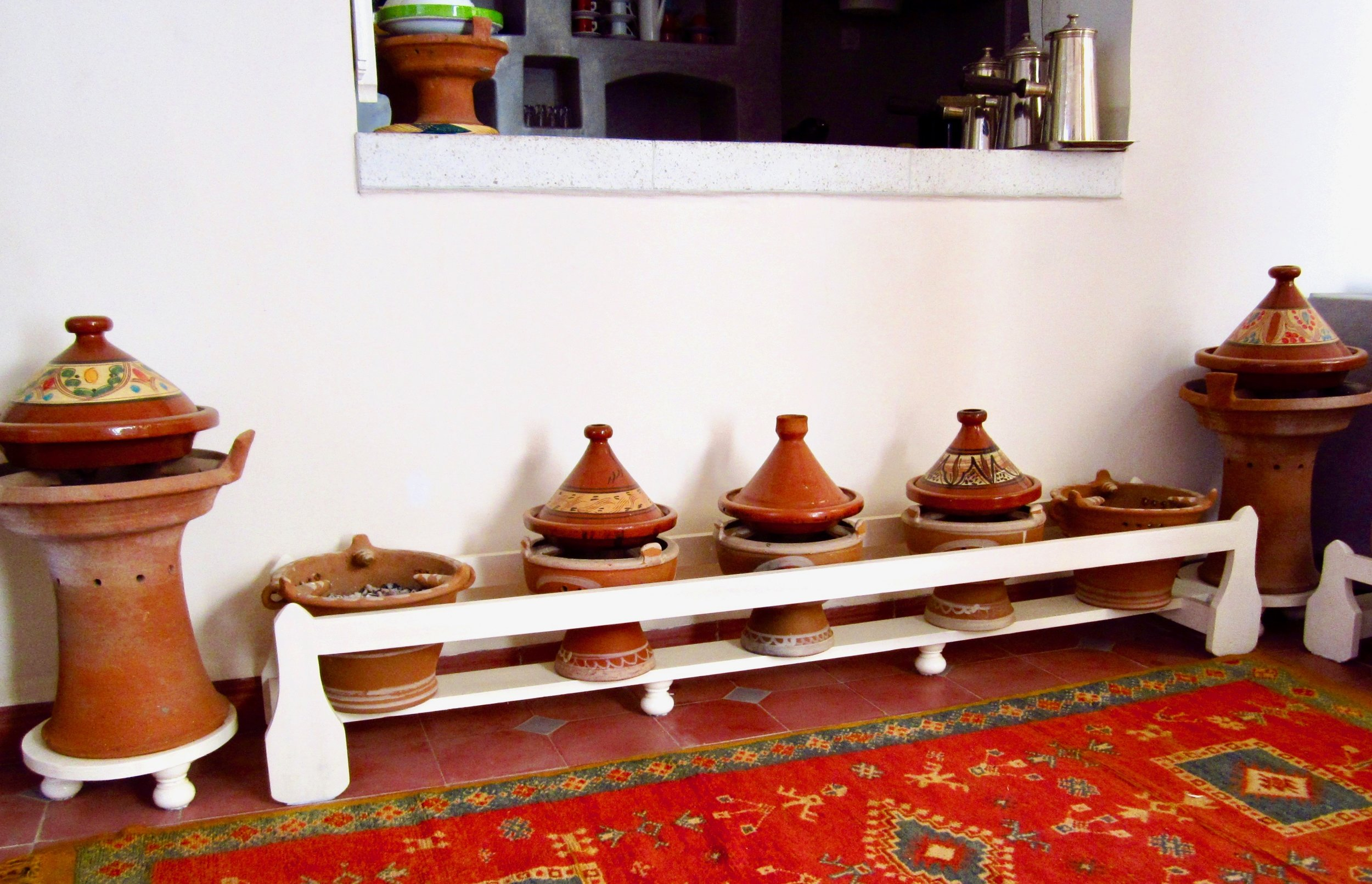 Tajines- a Morocan kitchen appliance traditionally used to cook meat and vegetables.