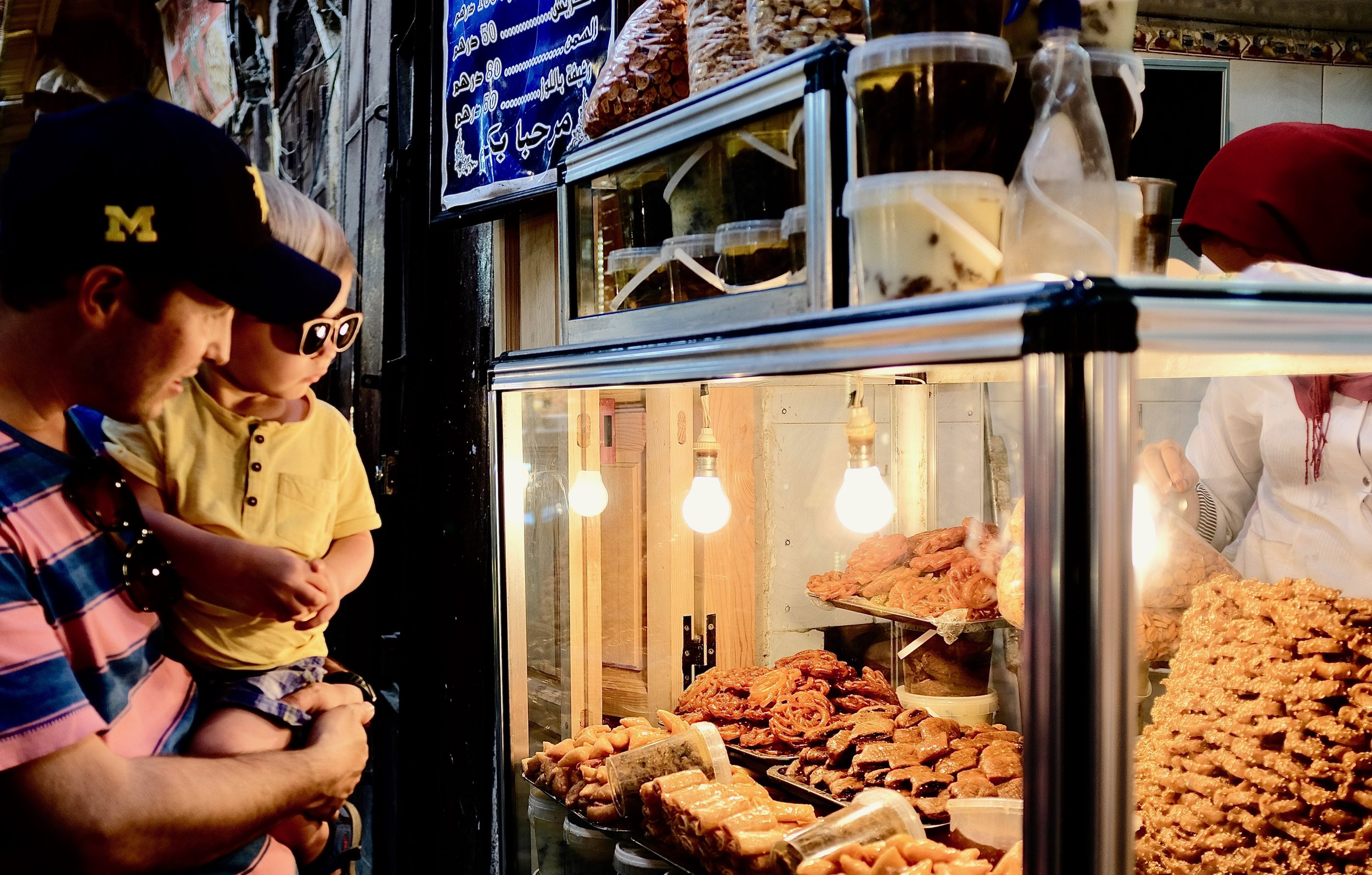 Jimmy and Nate searching for the best Moroccan pastries in Fez, Morocco.