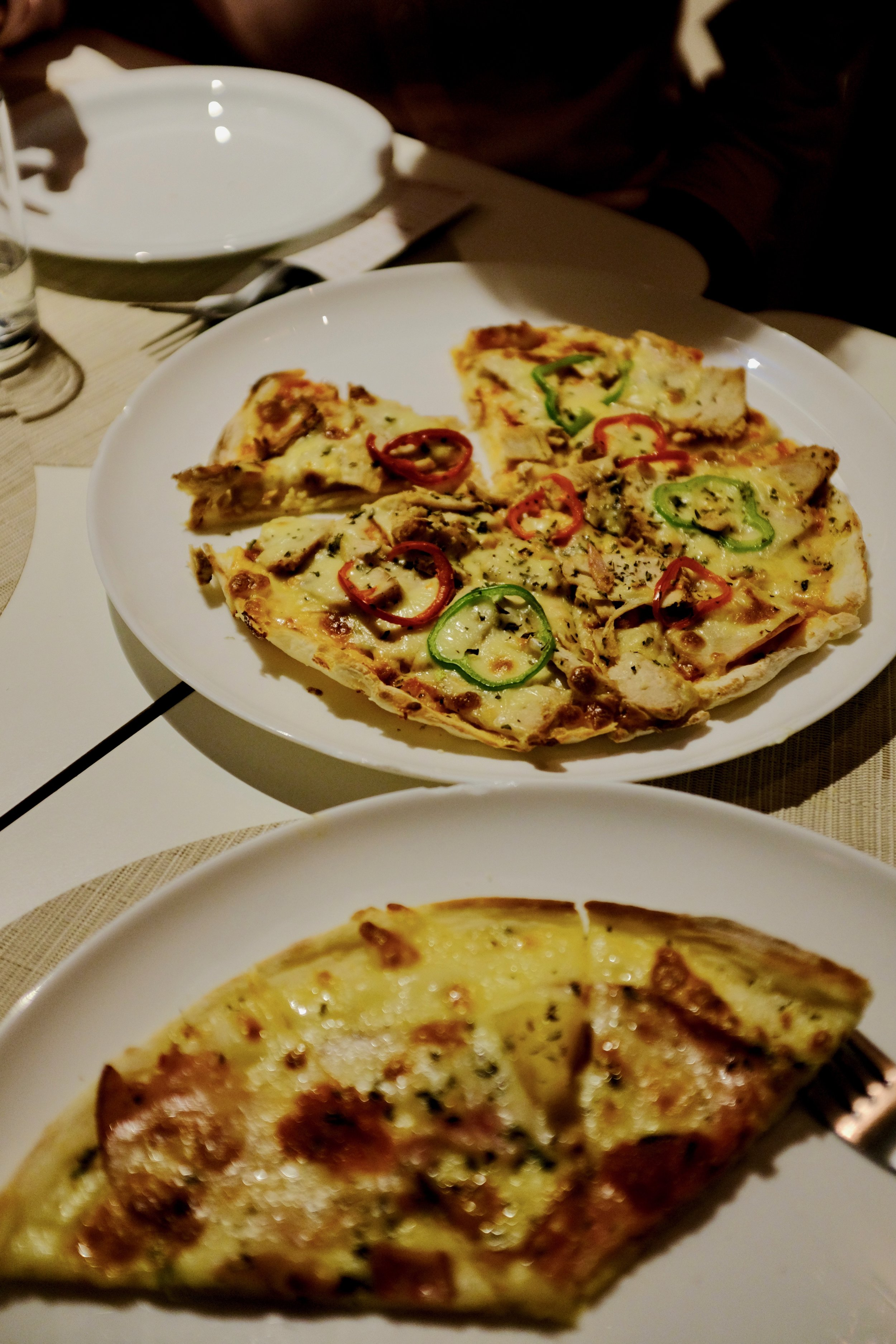 Moroccan Pizza from Mandala Pizzeria in Chefchaouen, Morocco.