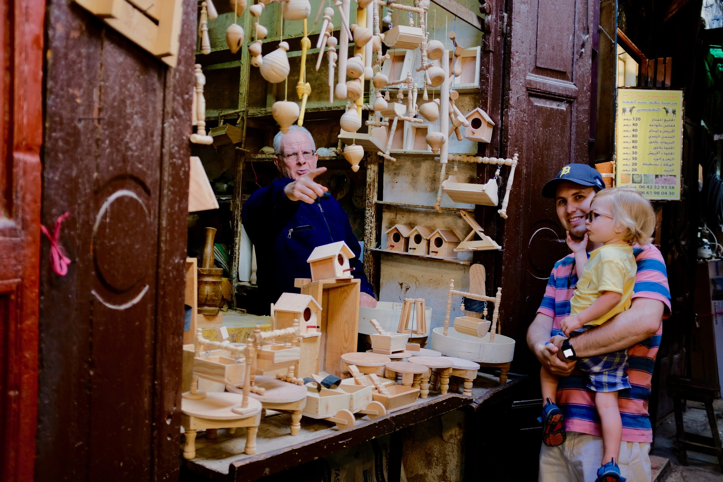 Wooden items sold in Fez, Morocco.