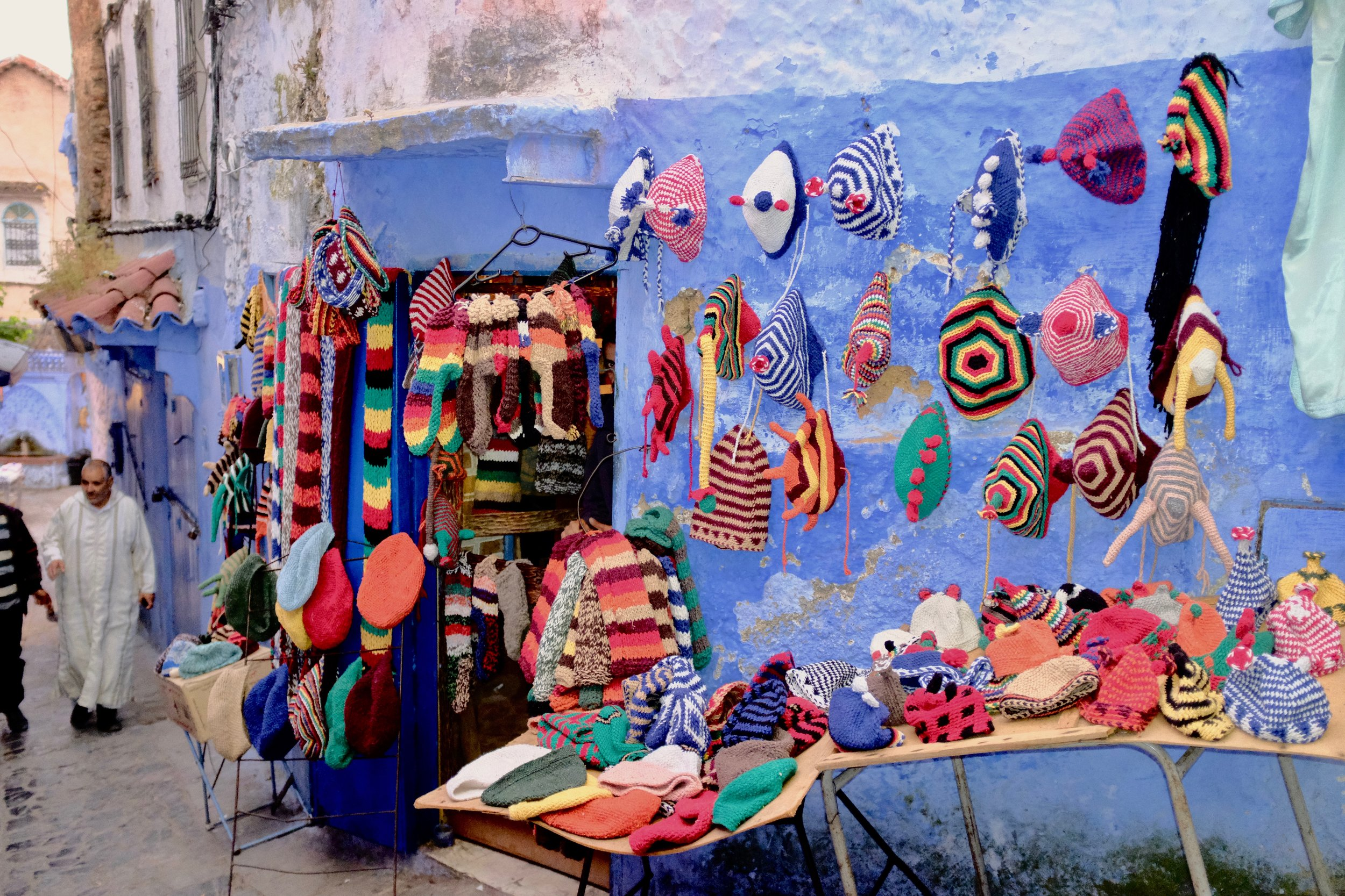 Hand knit hats in Chefchaouen, Morocco.