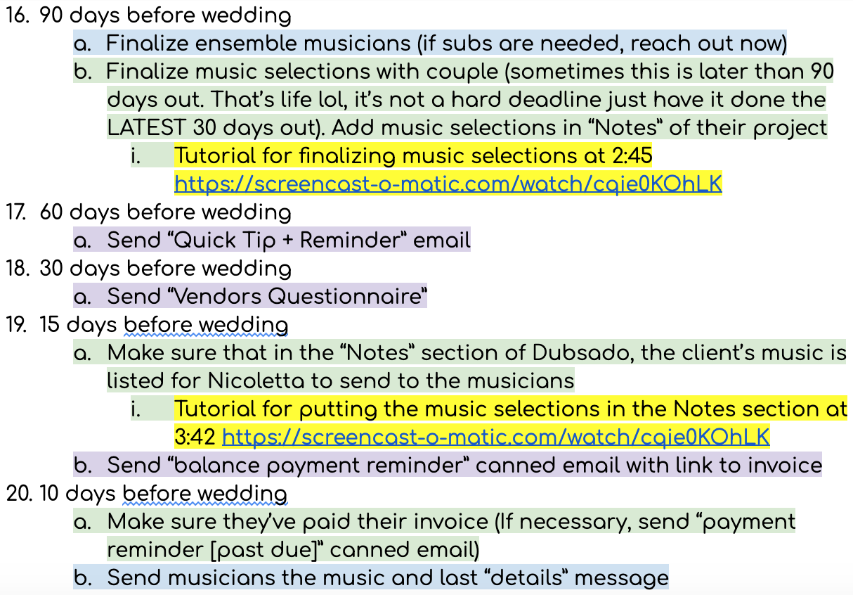 A part of the  Got Strings  Wedding Client Experience I train my team with, for reference