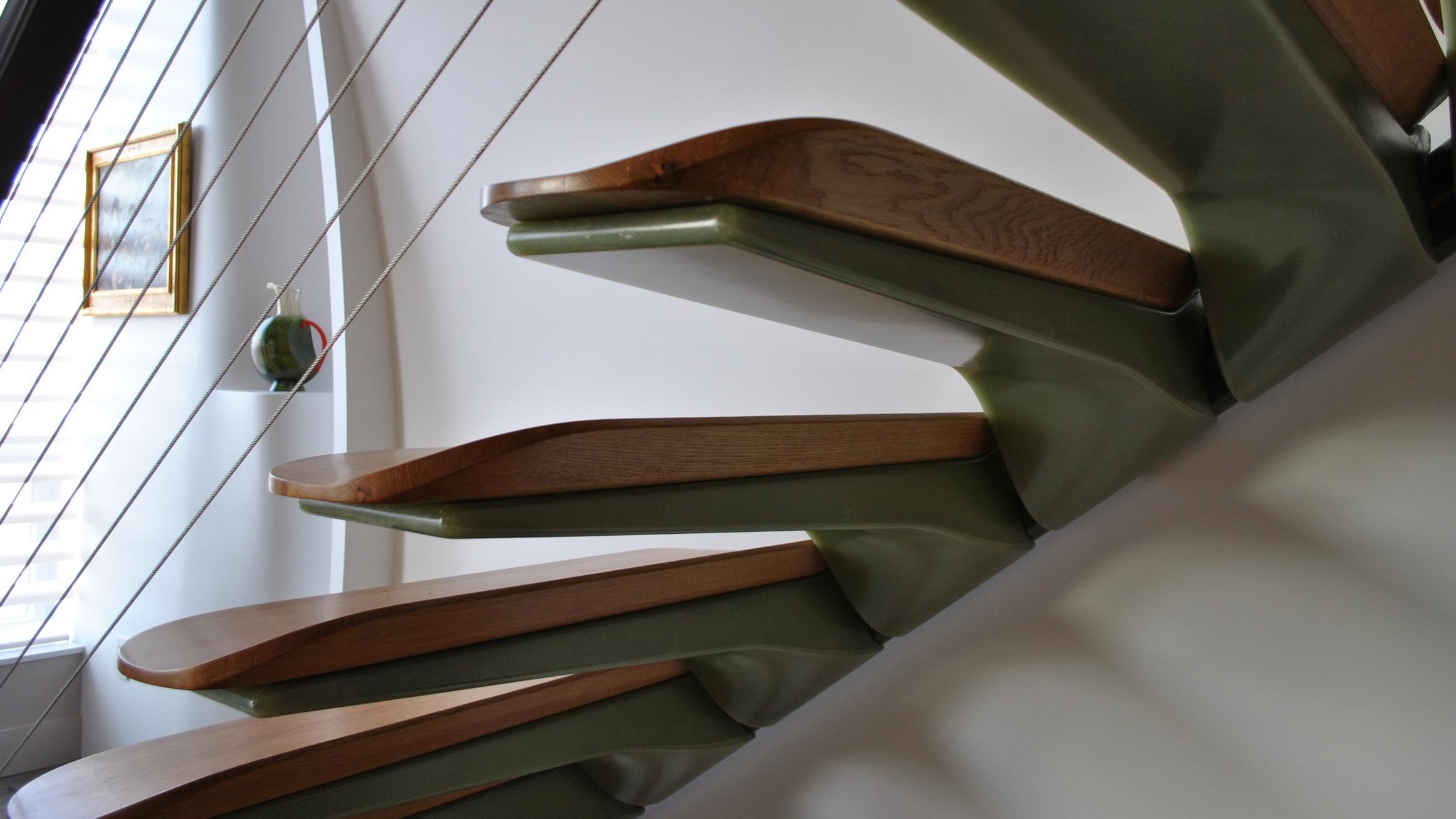 cantilevered fiber glass steps