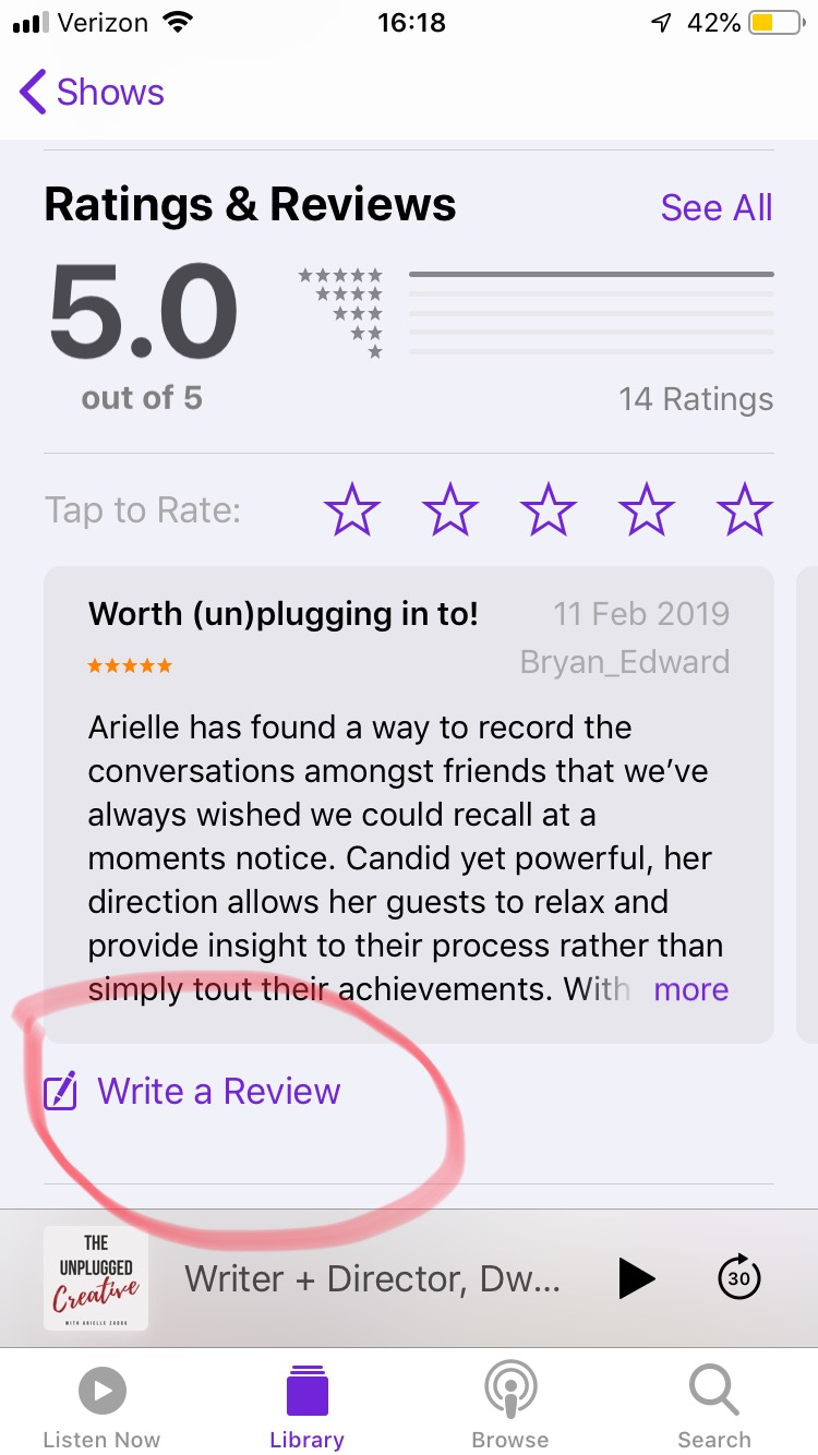 How to Leave an iTunes Review for The Unplugged Creative Podcast with Arielle Zadok