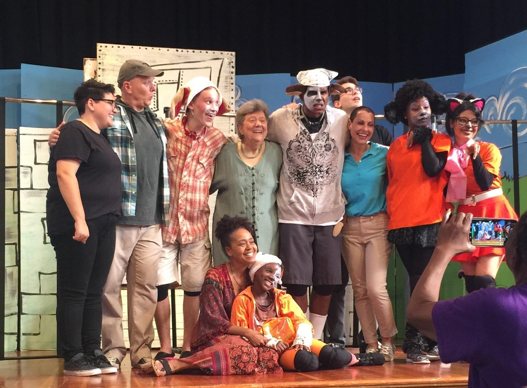 "with the cast of her kids musical ""Buddy"""