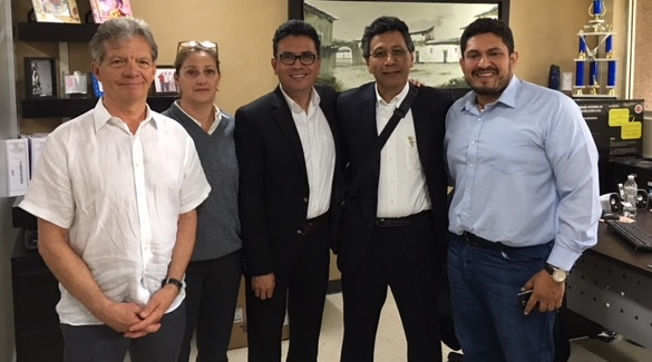 The Heart to Heart site assessment team shown here from left: Nilas Young, MD; Josie Everett, and Victor Rodriguez, MD meet with cardiac surgeon Gerardo Serrano, MD and his adminstrative colleague at a potential collaborative site in Torreon, Mexico.