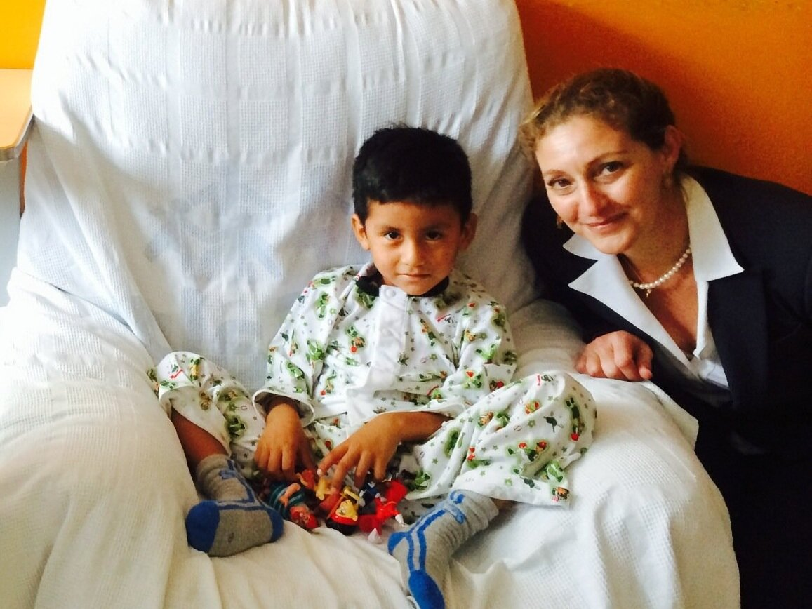 Heart to Heart Executive Director, Josie Everett, visits with four-year-old patient Enzo. Each year, 6,000 children are born in Peru with congenital heart disease (CHD) - the majority need surgical intervention to avoid premature death.