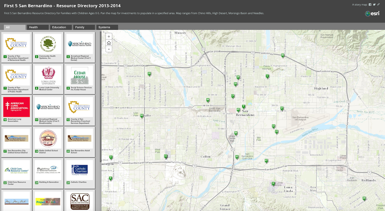 MEDIA Resource Directory - ESRI StoryMap Template: ShortlistUsing ESRI's ArcGIS Online Story Maps, I created a resource directory using the Shortlist Template of First 5 San Bernardino agencies in the County of San Bernardino.