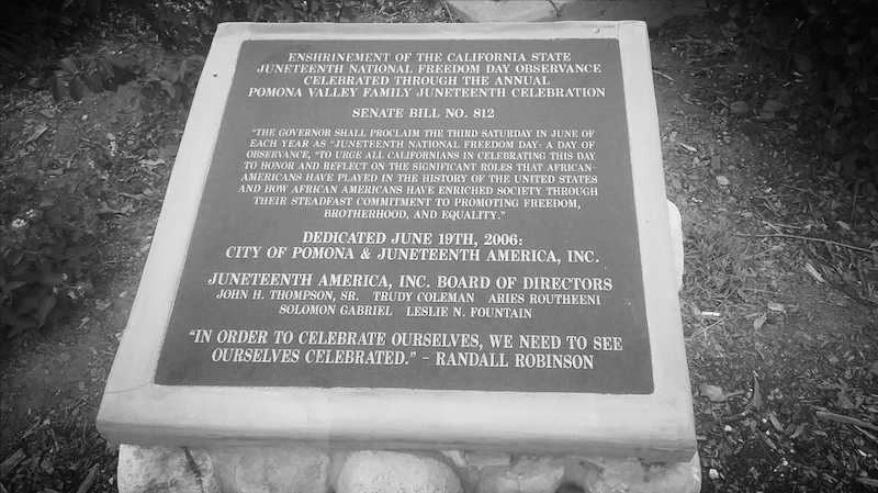 California Juneteenth National Freedom Day Observance Monument, Pomona, California (Ganesha Park)