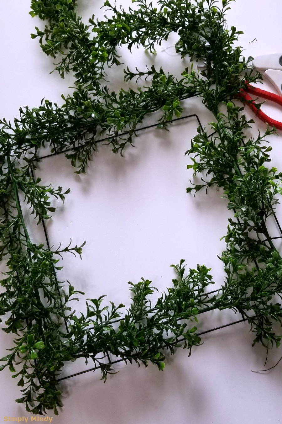 This is what it looked like after the first garland was attached.