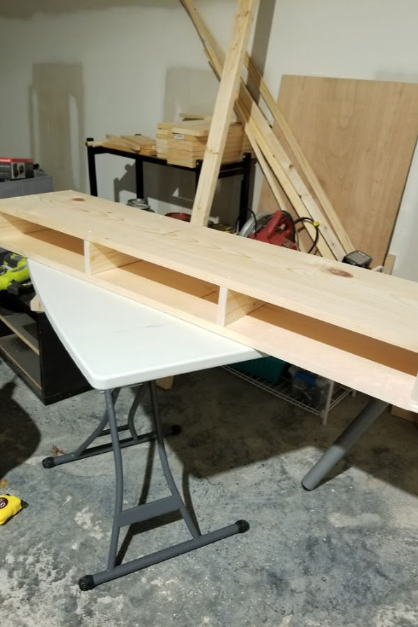 Complete the top - *Using the same 2 inch screws, I attached the second board to the opposite end of the 1x4's