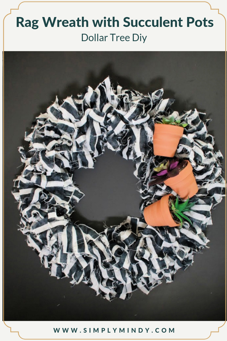 Dollar Tree Rag Wreath With Succulent Planters Simply Mindy
