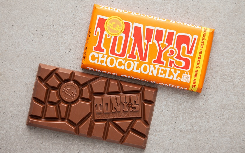 Tony's Chocolonely   Caramel Sea Salt Milk Chocolate Bar (32%)     $4.79