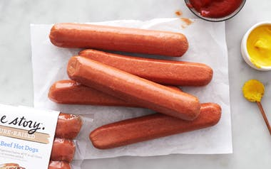 True Story Foods   Pasture Raised Skinless Uncured Beef Hot Dogs     $6.99