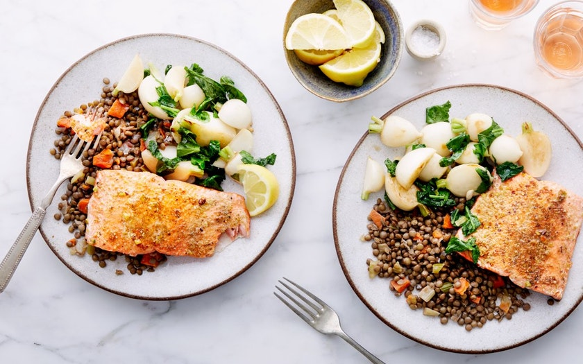 Good Eggs Meal Kits   Seared Salmon with Green Lentils & Baby Turnips     $33.99