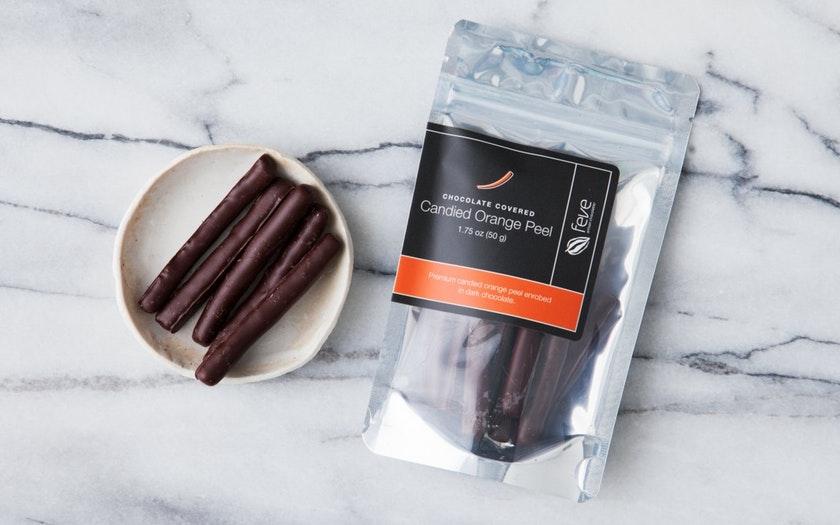 Feve Artisan Chocolatier   Chocolate Covered Candied Orange Peel     $7.99